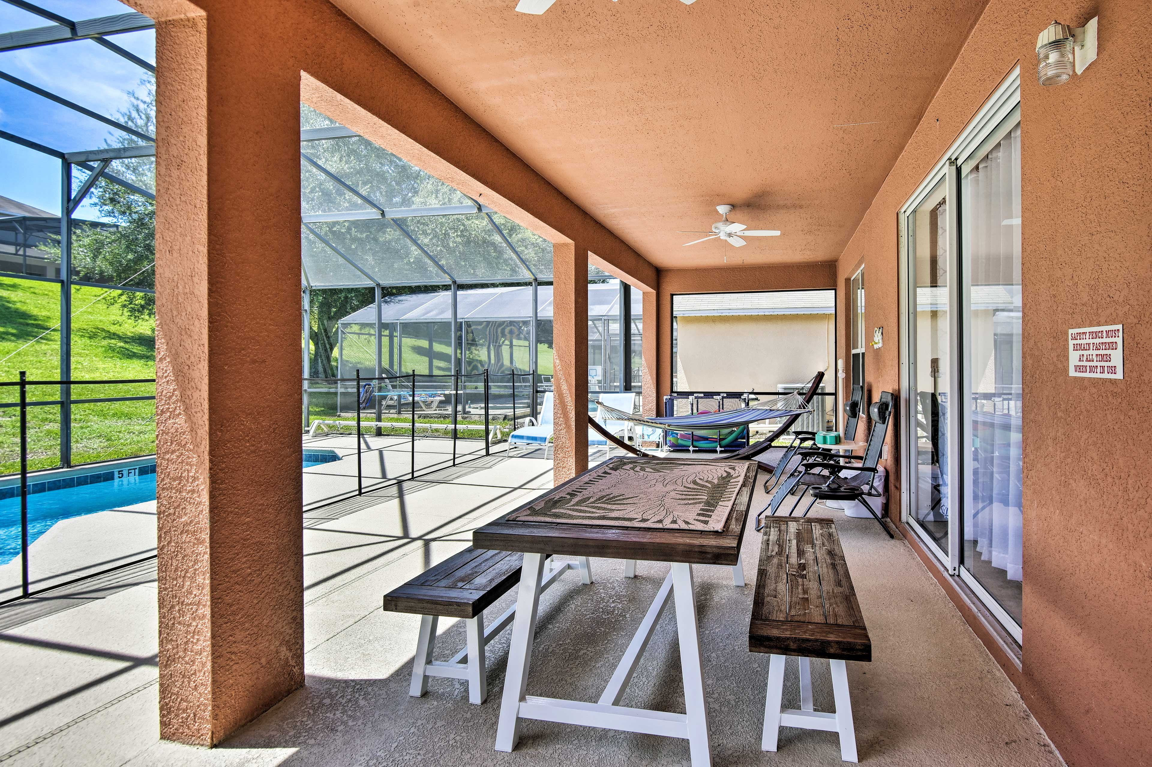 Kick back on the furnished, covered patio.
