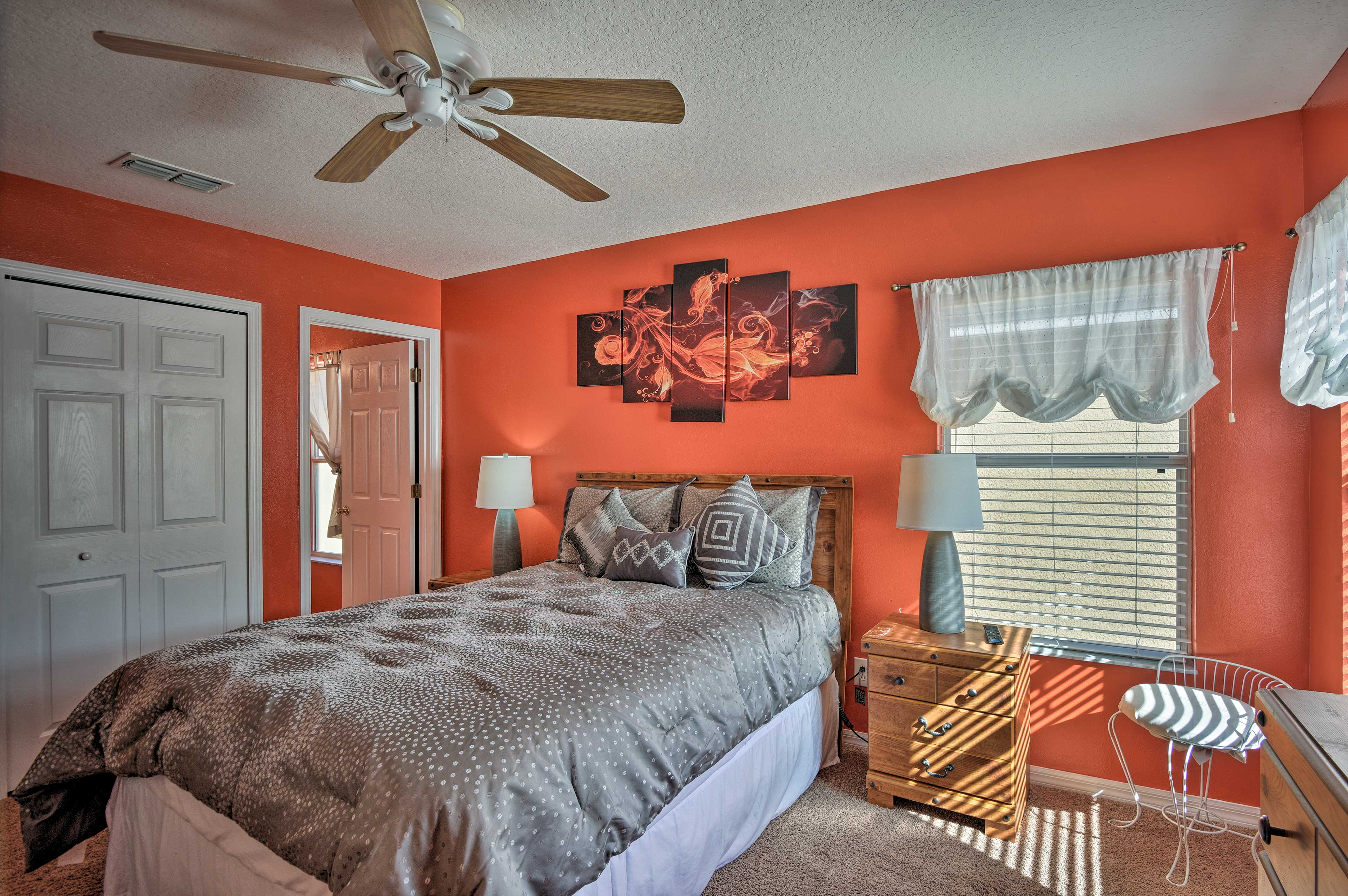 Let the breeze from the ceiling fan lull you to sleep.
