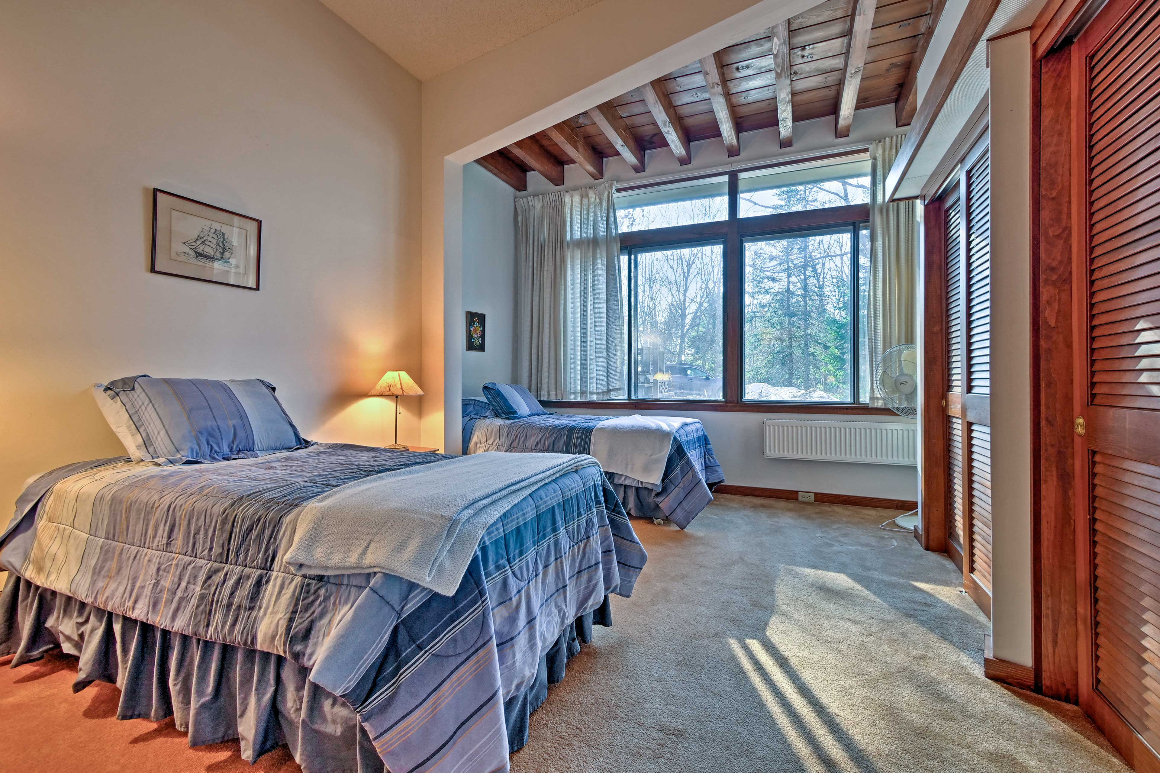 Perfect for siblings, this room houses 2 twin beds.