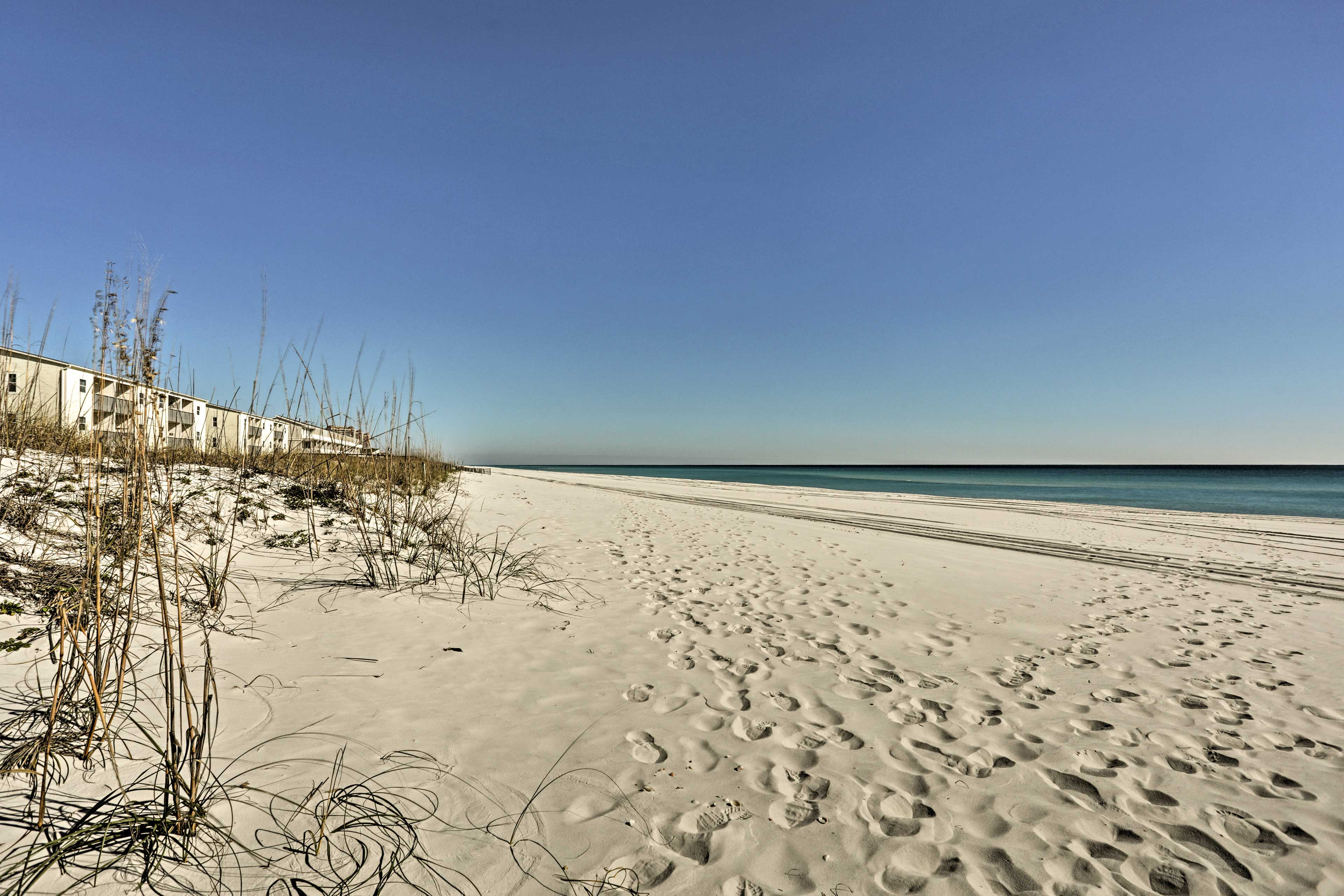 You'll be just steps away from having your toes in the sand.