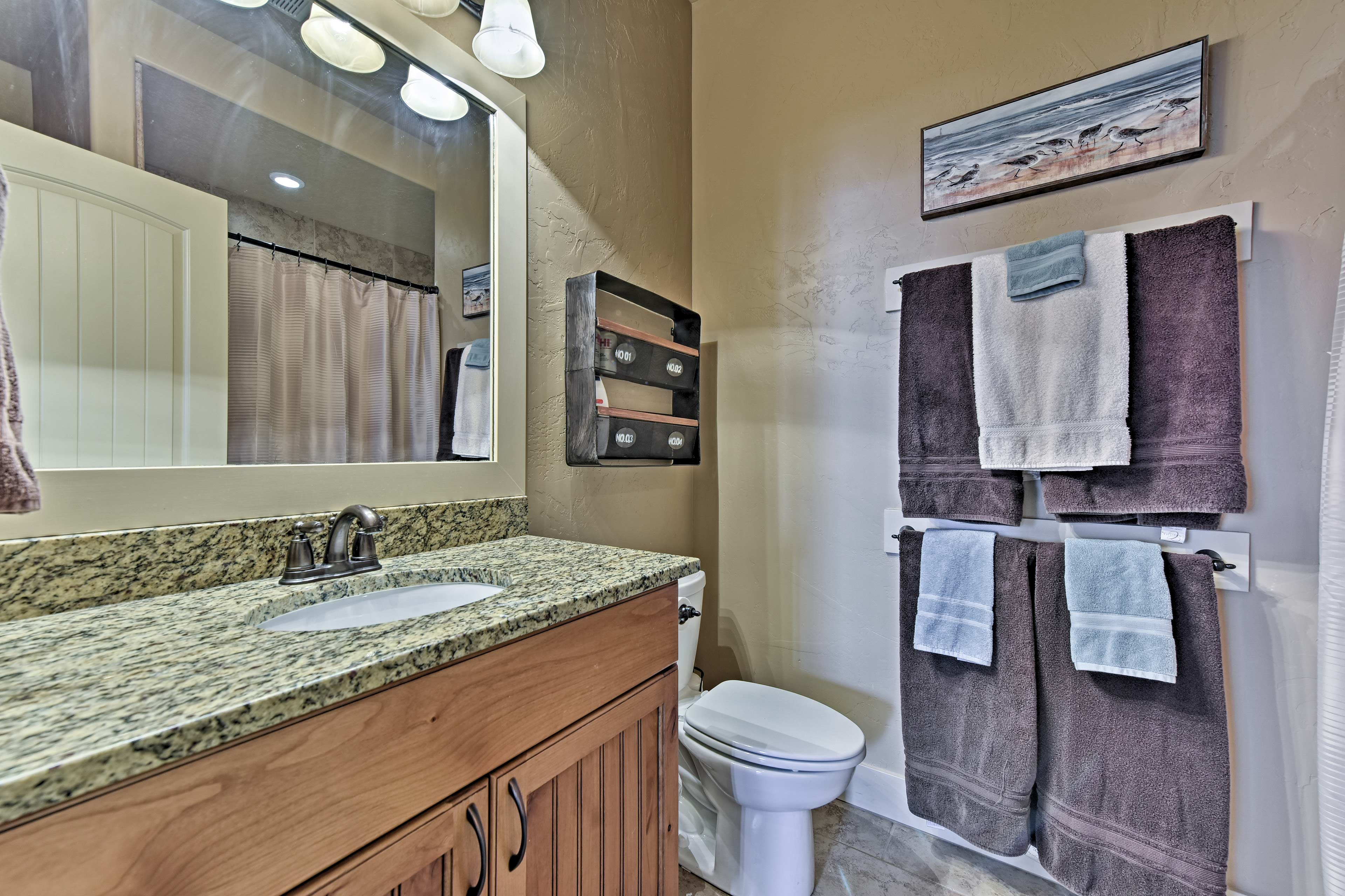 Wash up in this spacious bathroom.