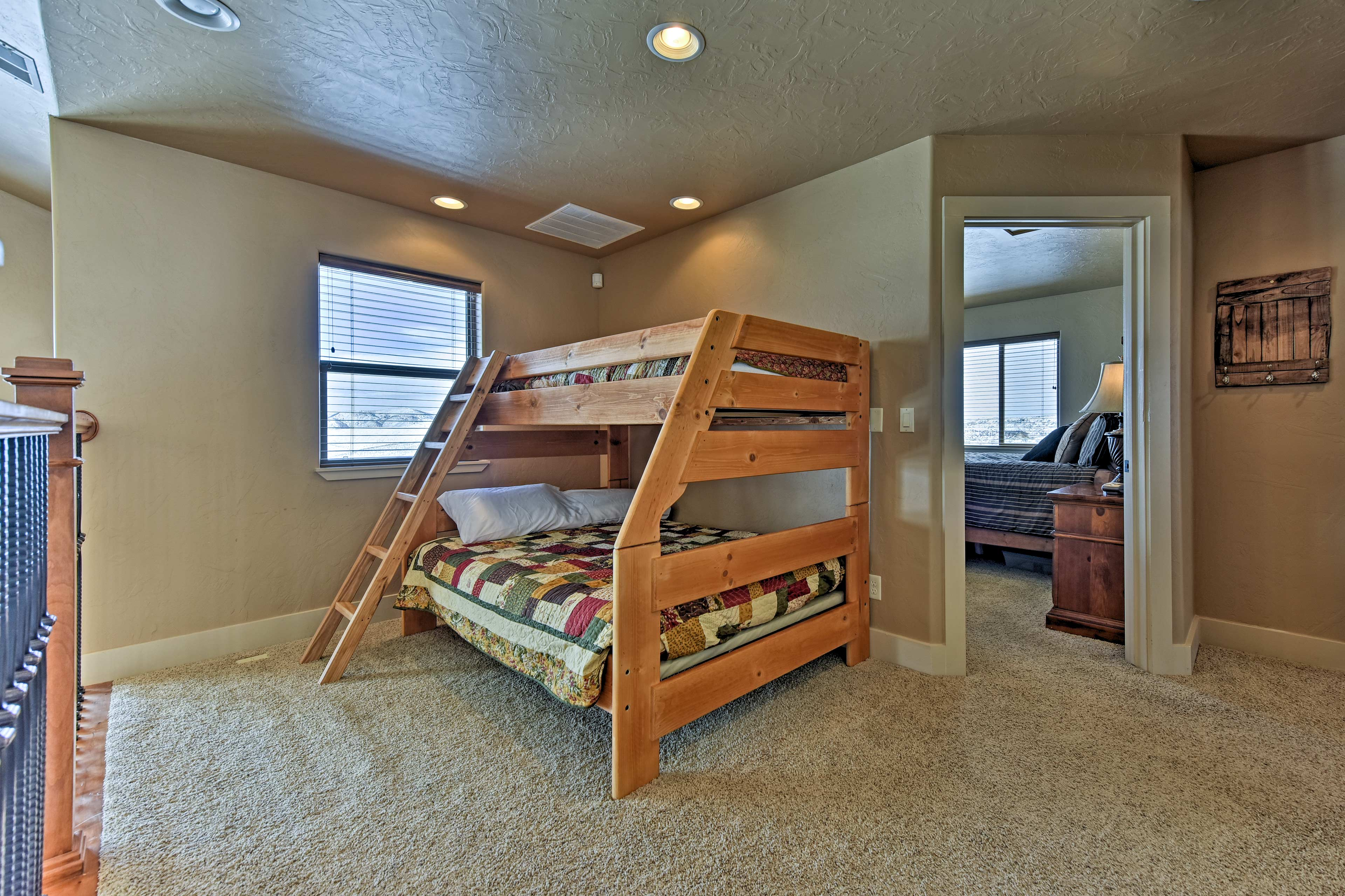 The loft includes a twin-over-full bunk bed.