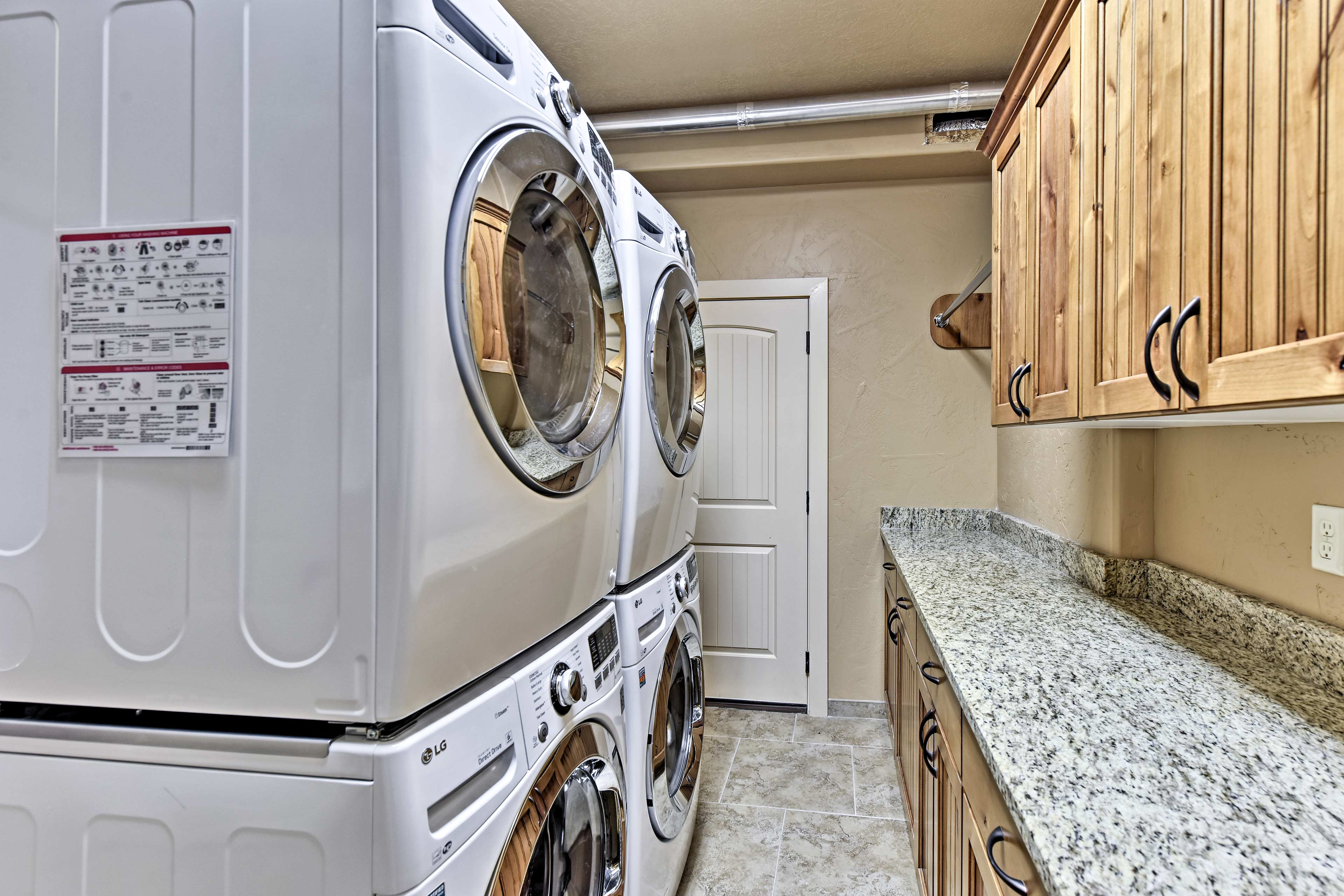 Two washer and dryers are provided!
