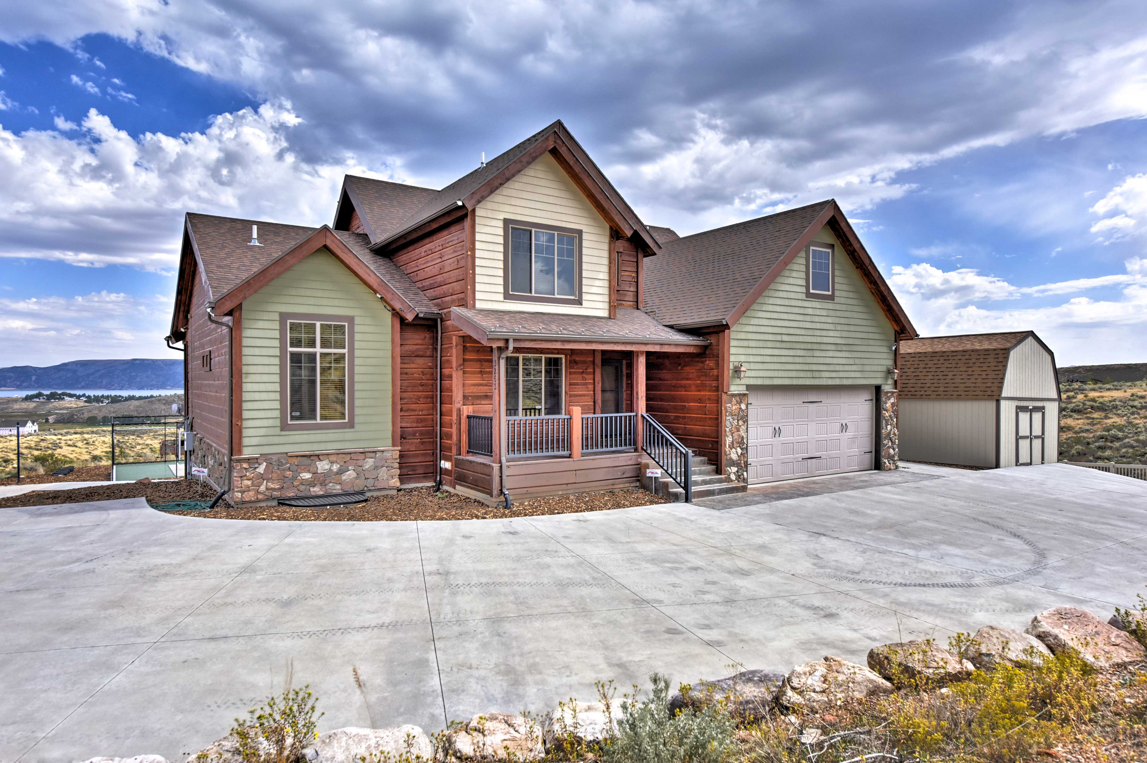 Book your luxury home-away-from-home at this cabin by Bear Lake!