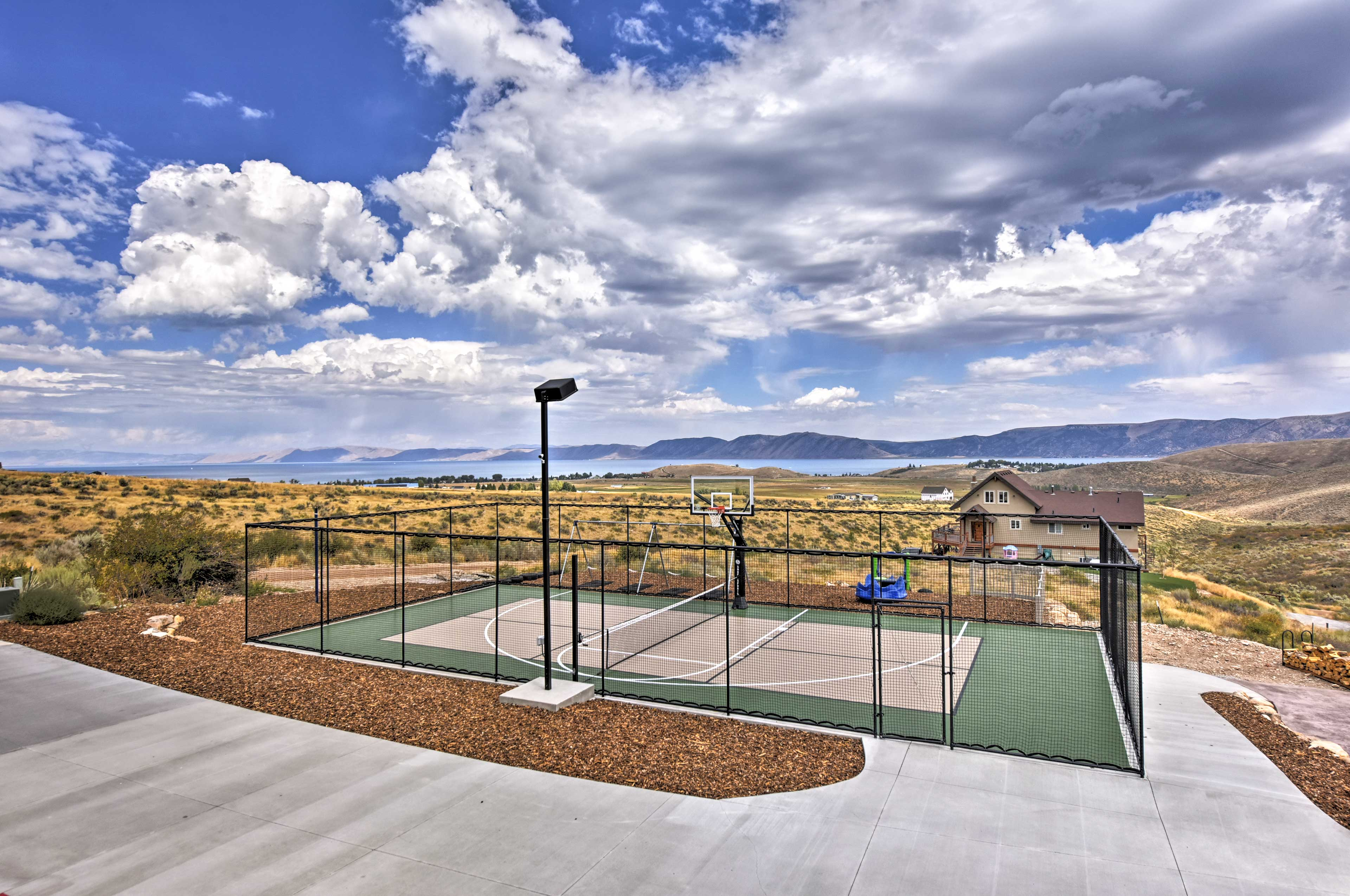 Challenge your companions to a full-sized game of basketball.