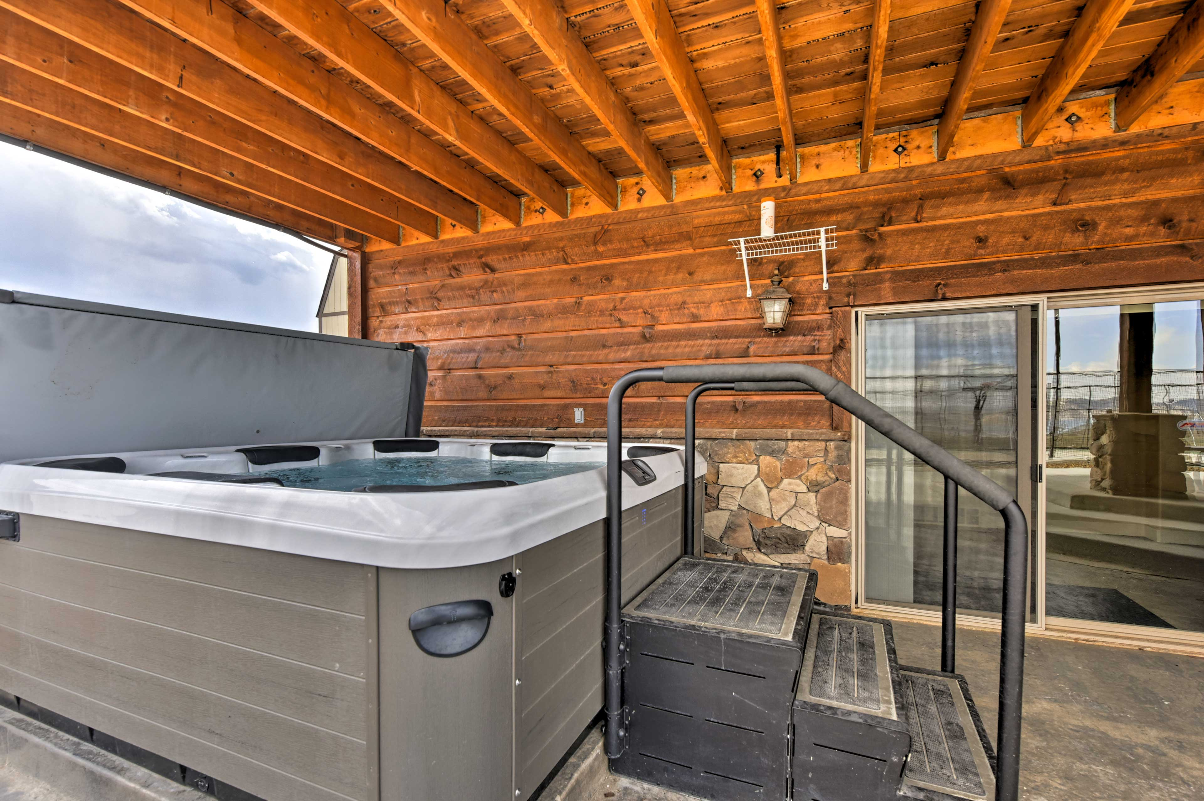 Massage your sore muscles out with the jets from this hot tub.