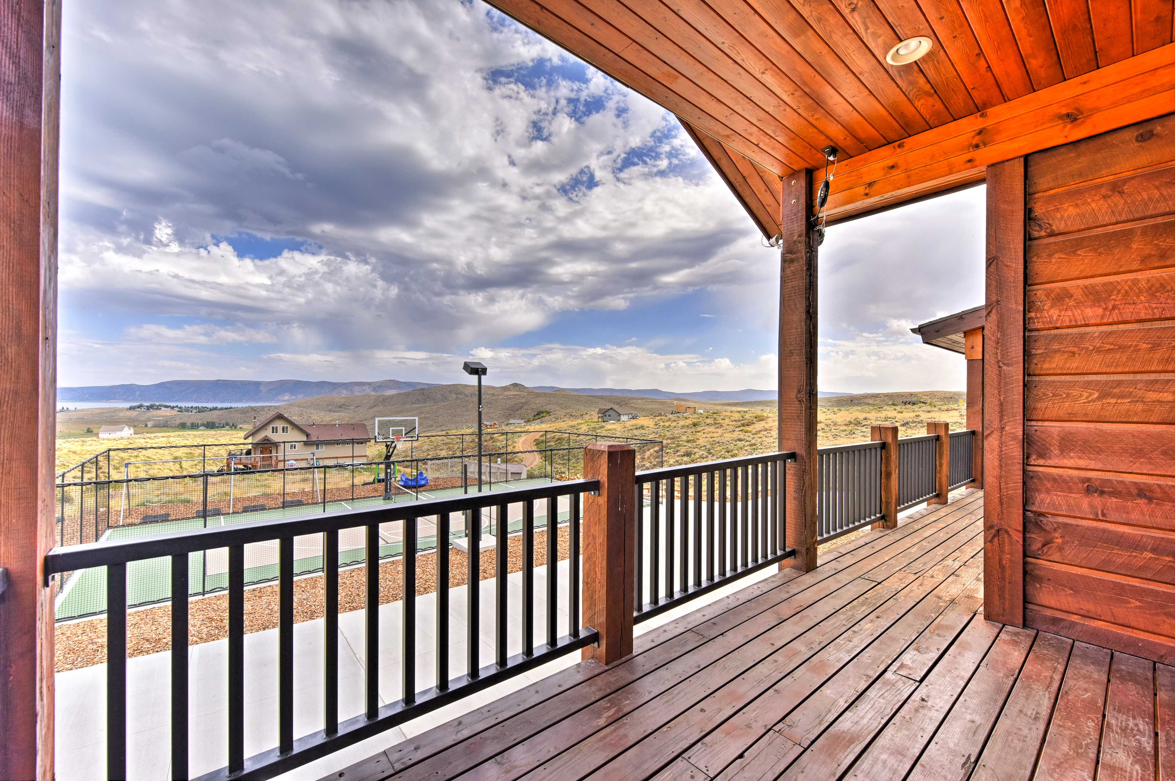 See Bear Lake from the private deck.