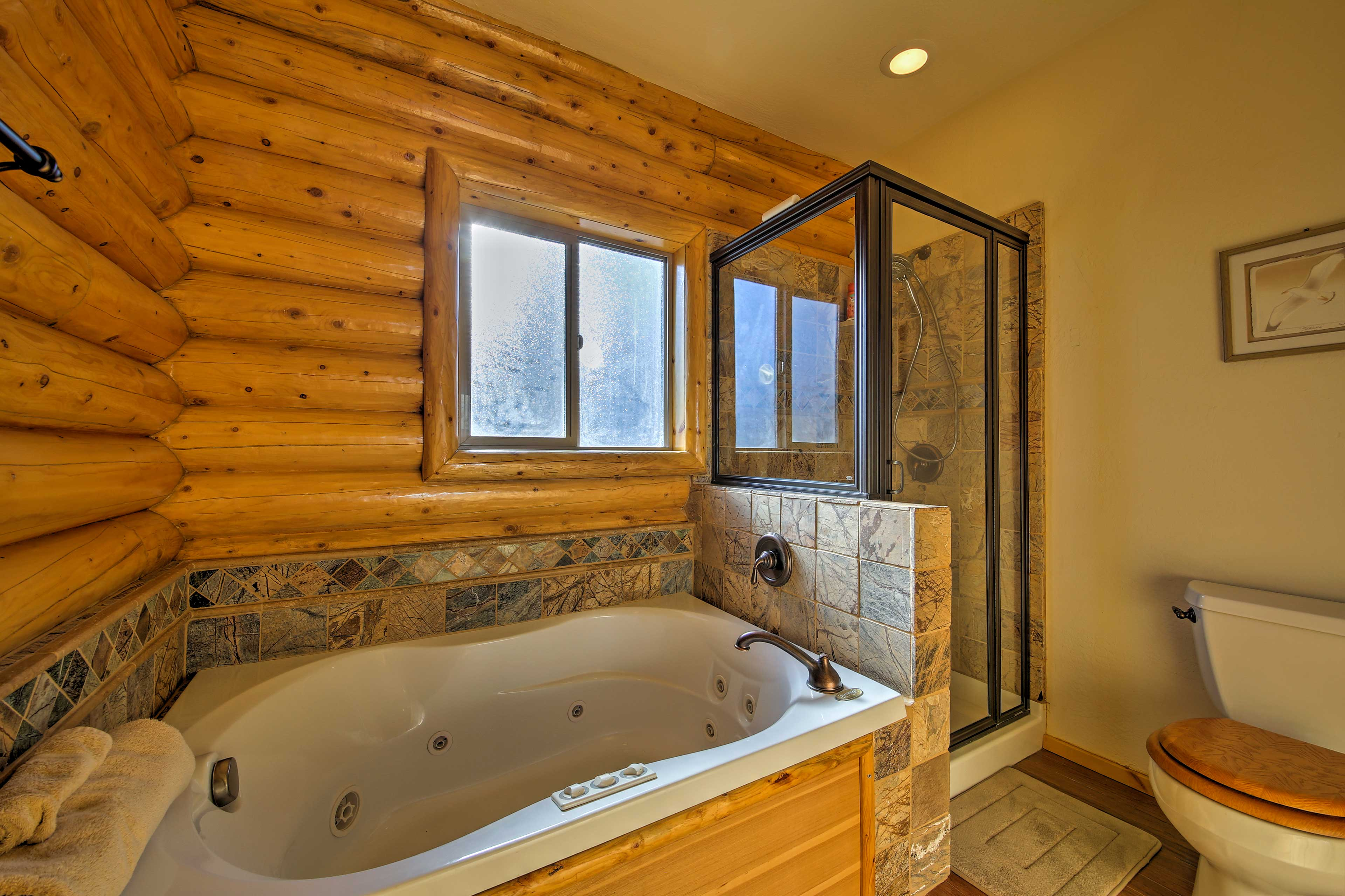 Soak in the spacious jetted tub to relax and unwind.
