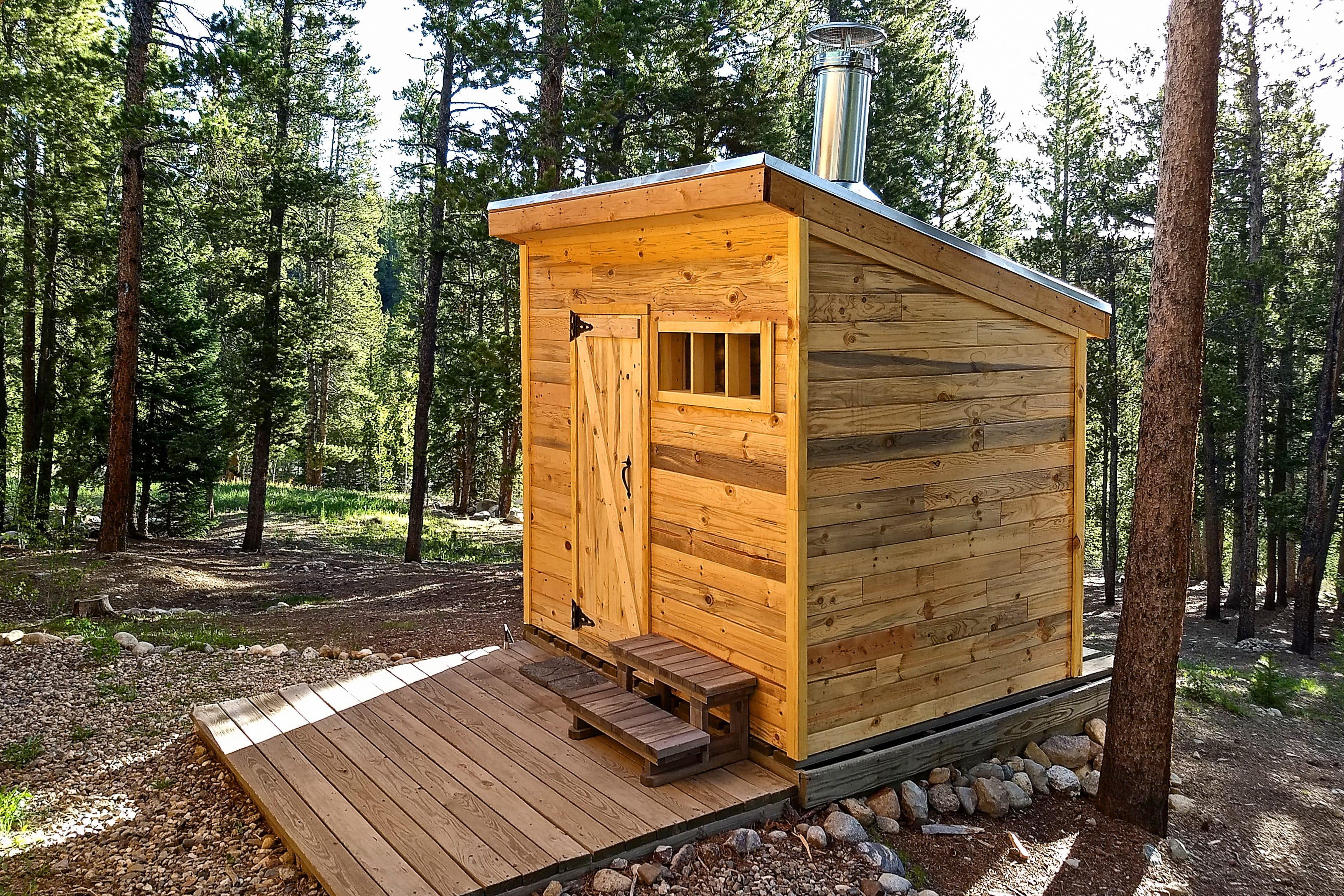 Relax and unwind in the outdoor wood burning sauna!
