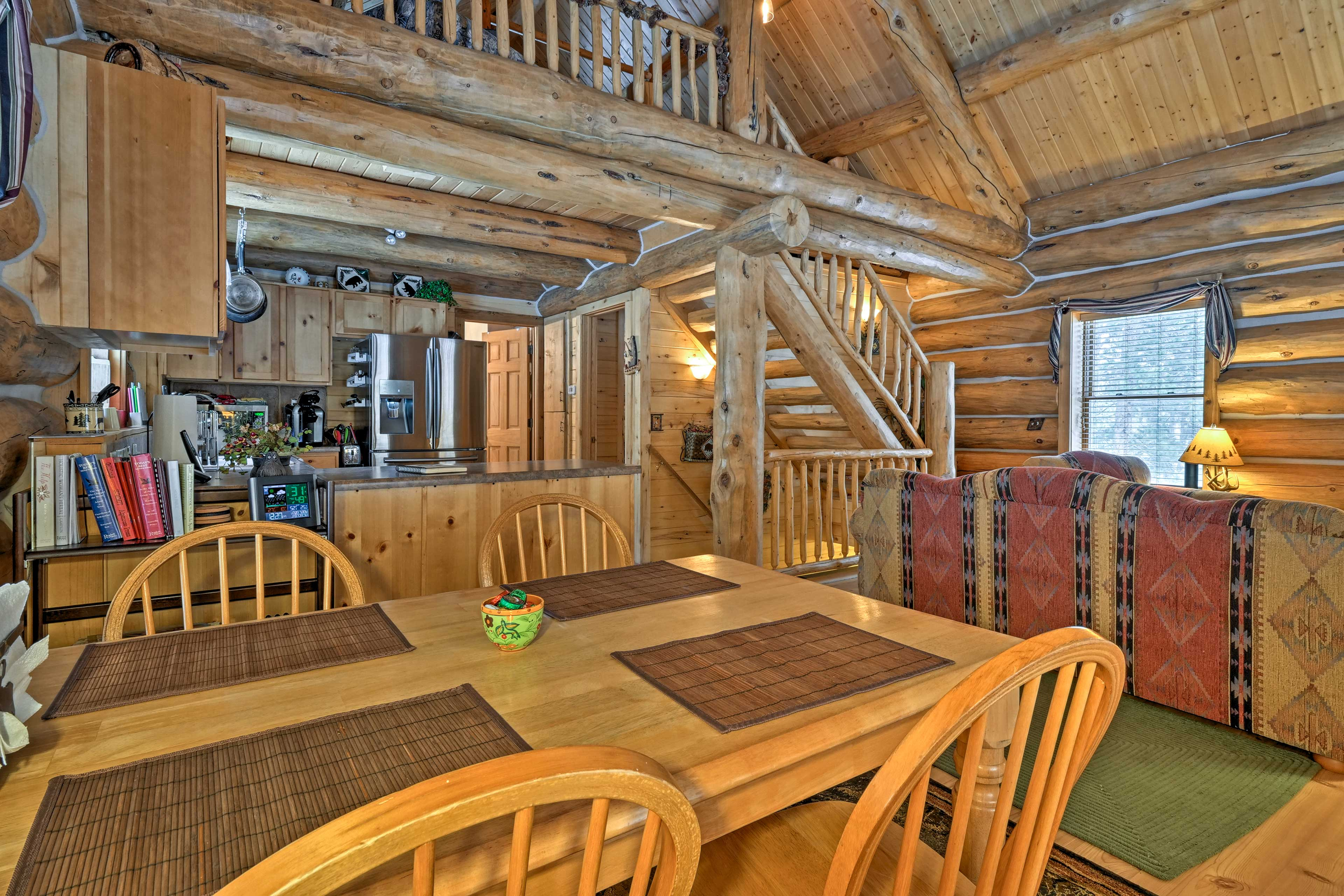 1,470 square feet of space is framed by wood beams and natural log structures.