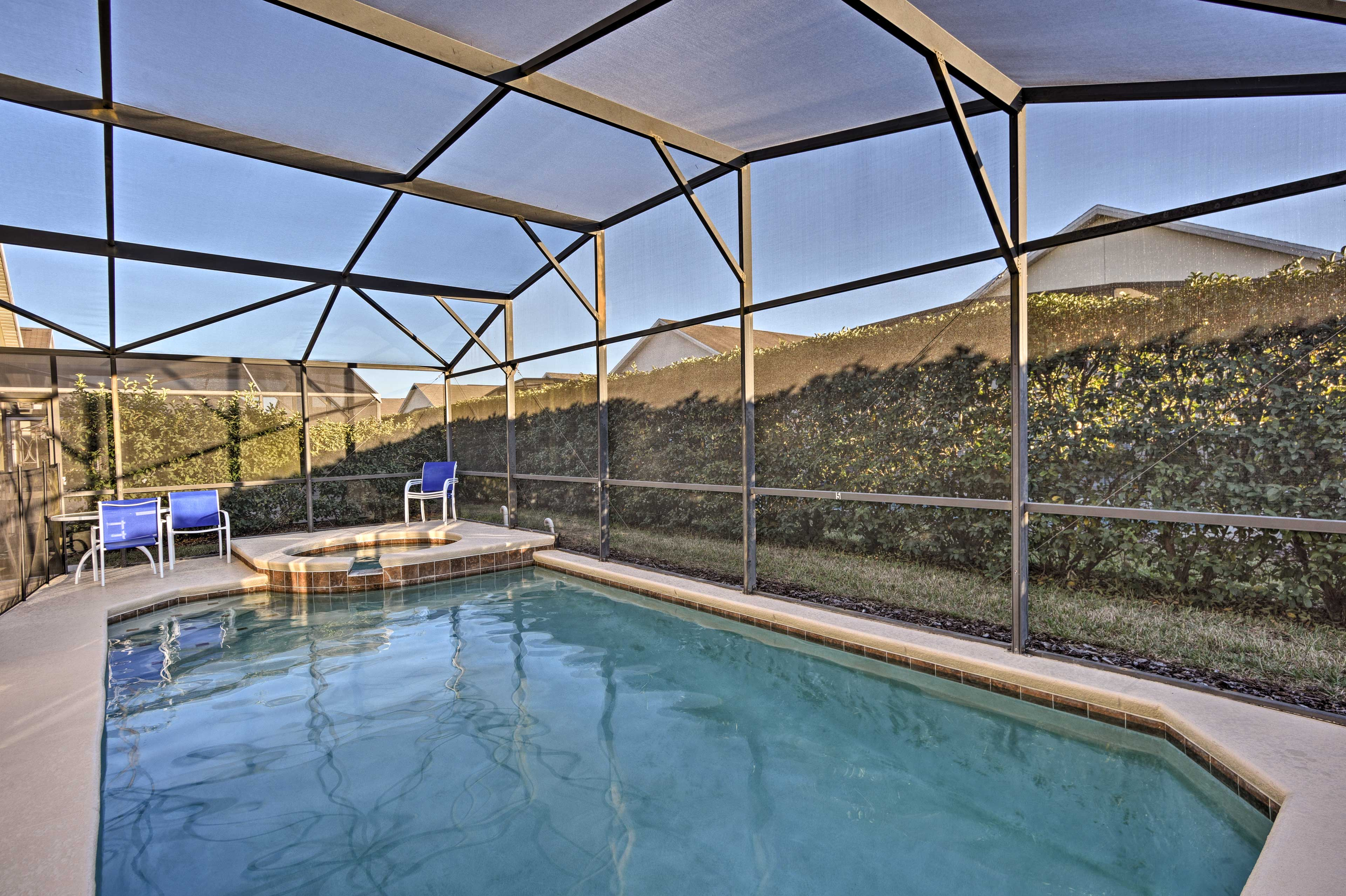 Spend sunny days lounging poolside in your private backyard!