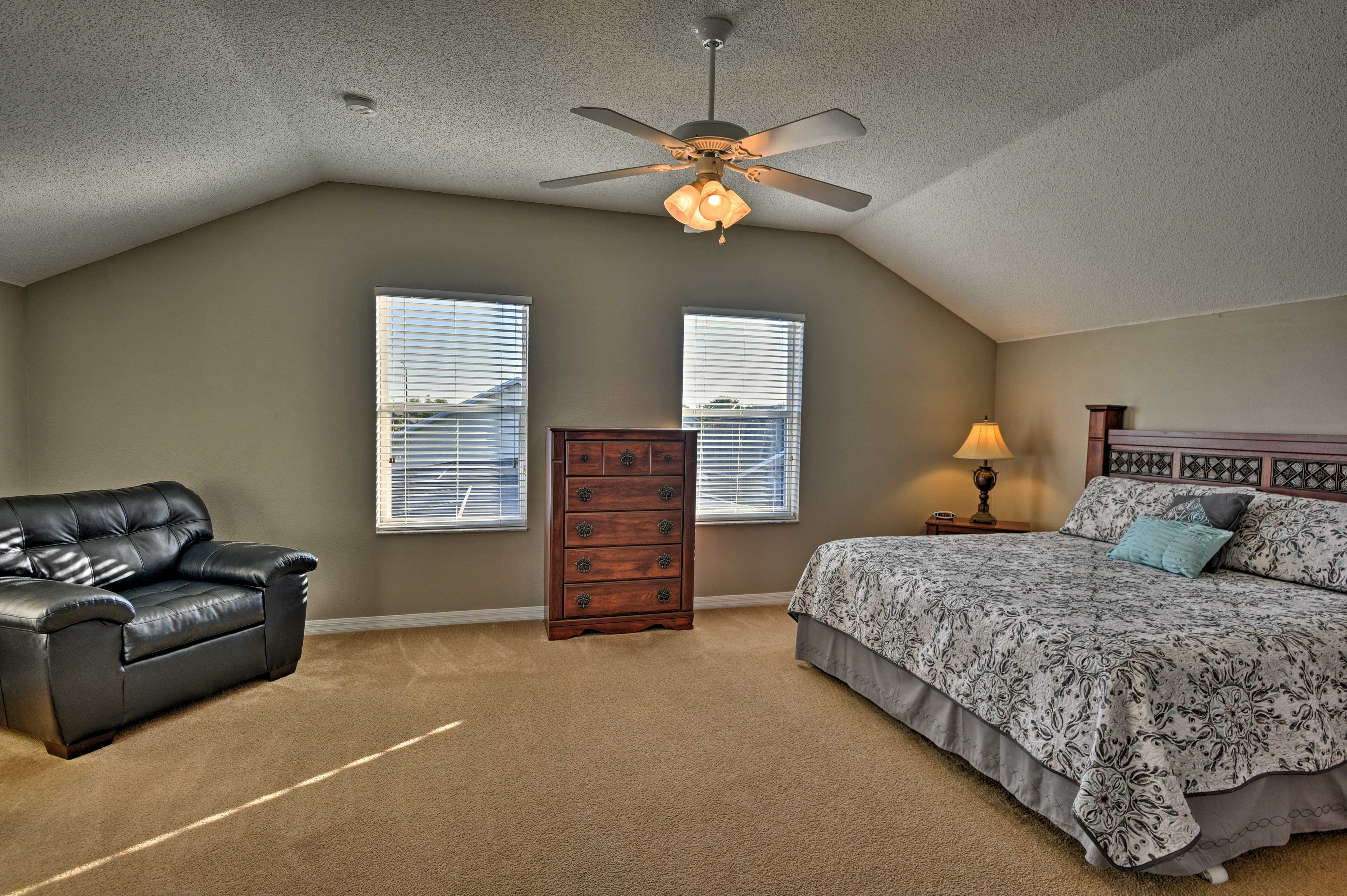 The second master bedroom also houses a king-sized mattress.