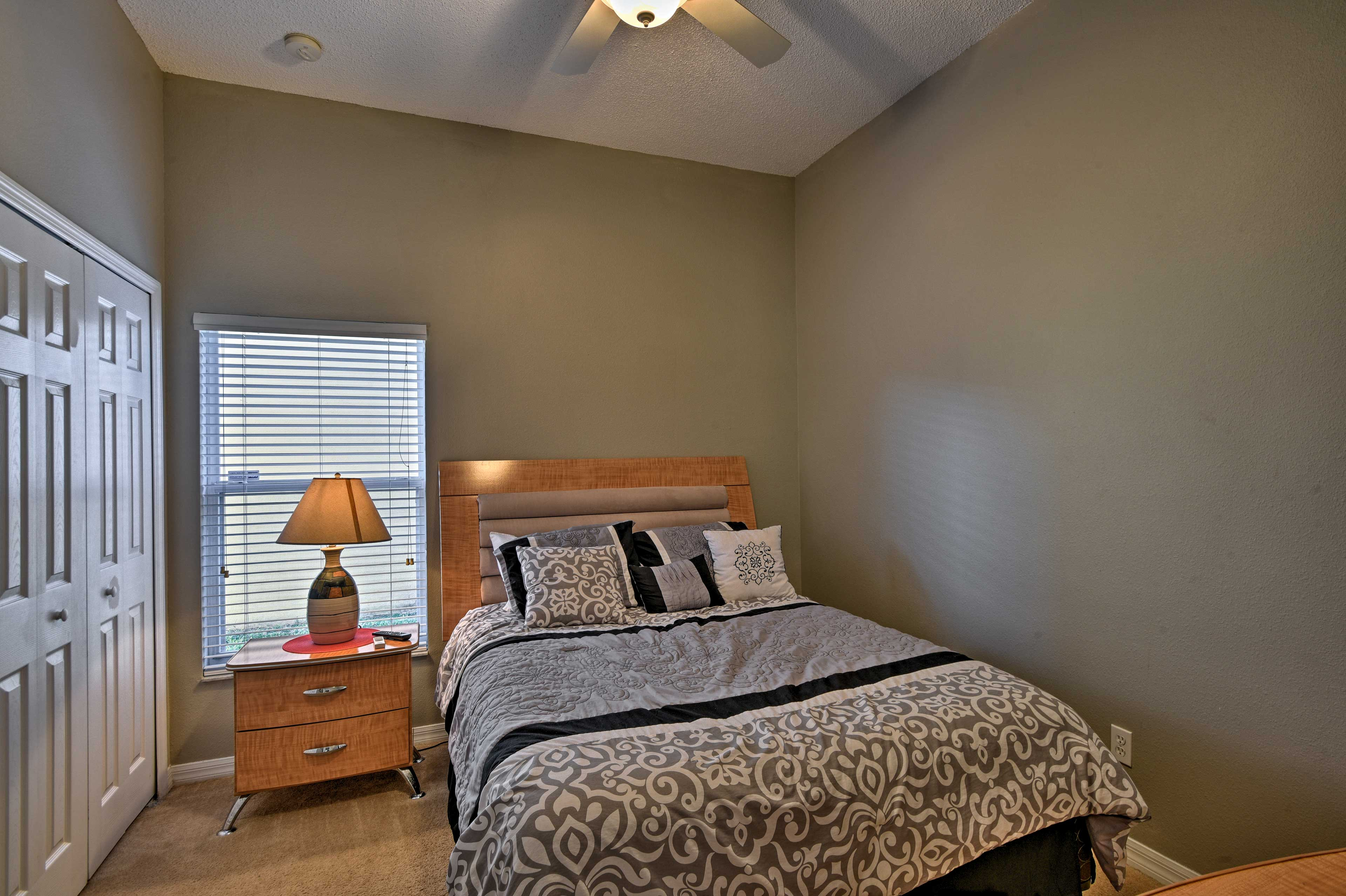 The third bedroom provides a queen-sized bed.