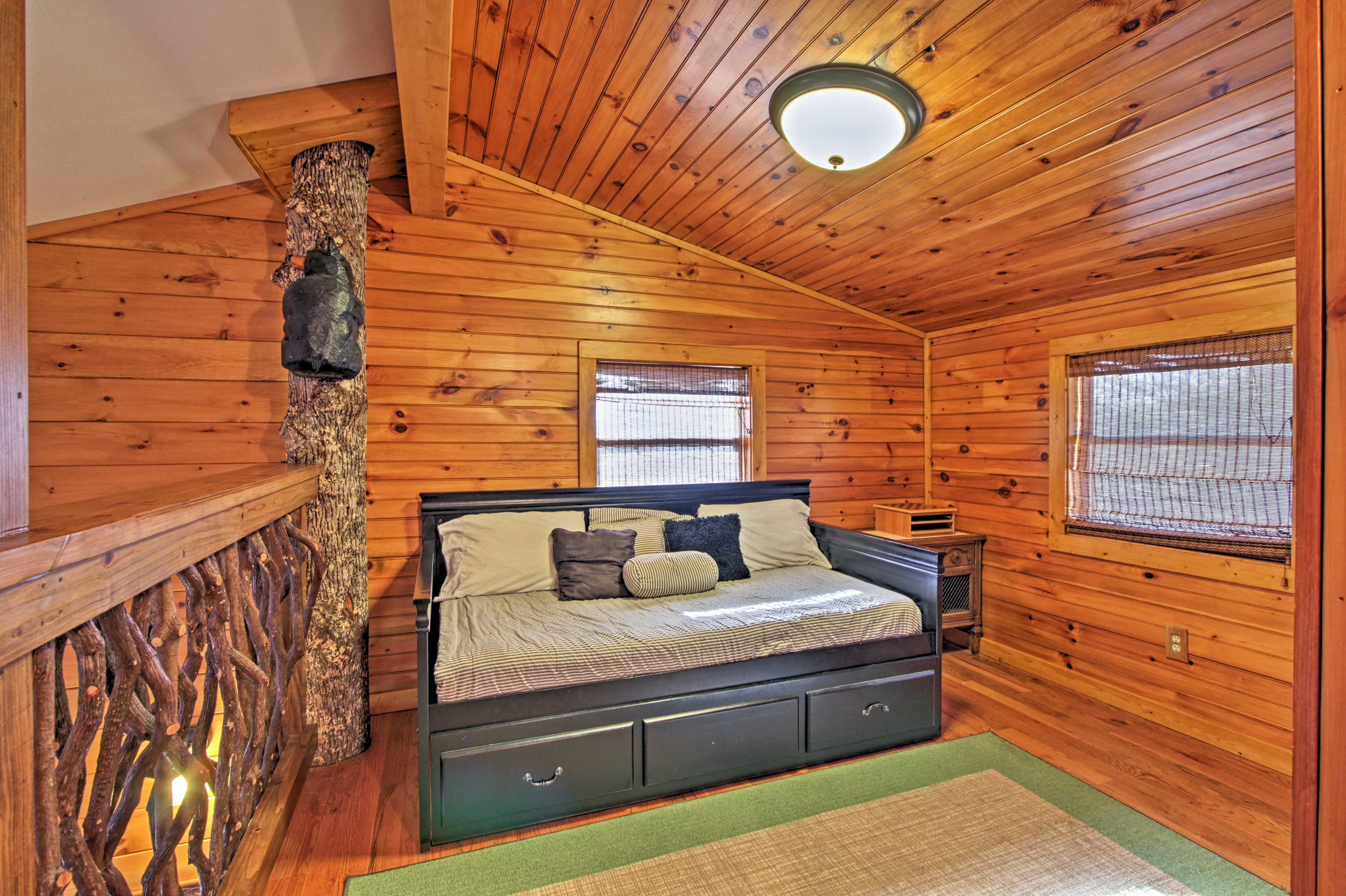 With a twin daybed and twin trundle, the loft sleeps 2.