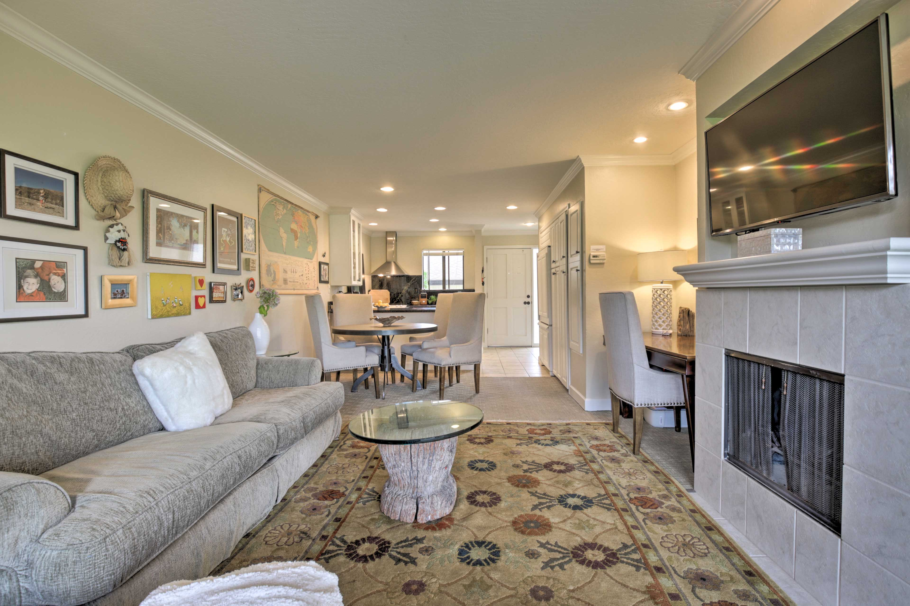 Unwind in the lovely condo featuring elegant furnishings and tasteful decor.
