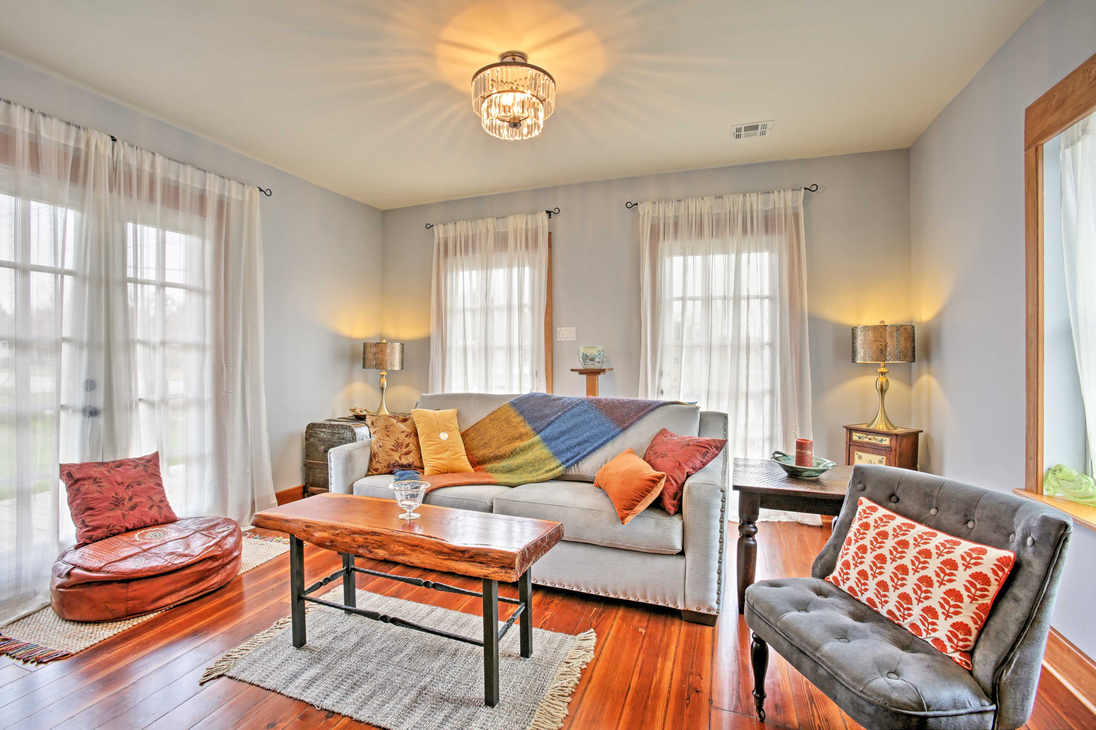 The living room is a great place to read a book or watch TV.