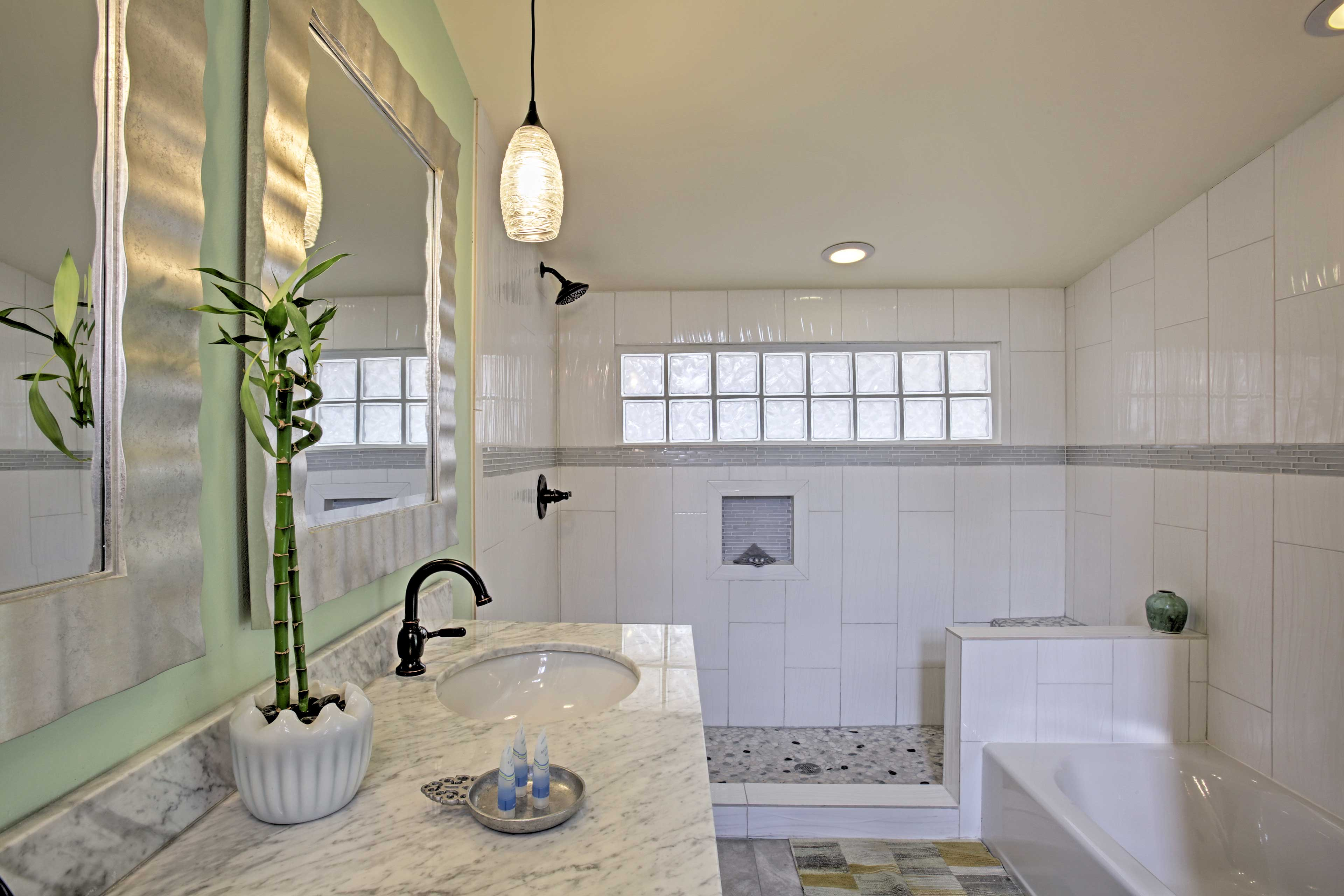 Take a relaxing soak in the bathtub before retiring to the loft or bedroom.
