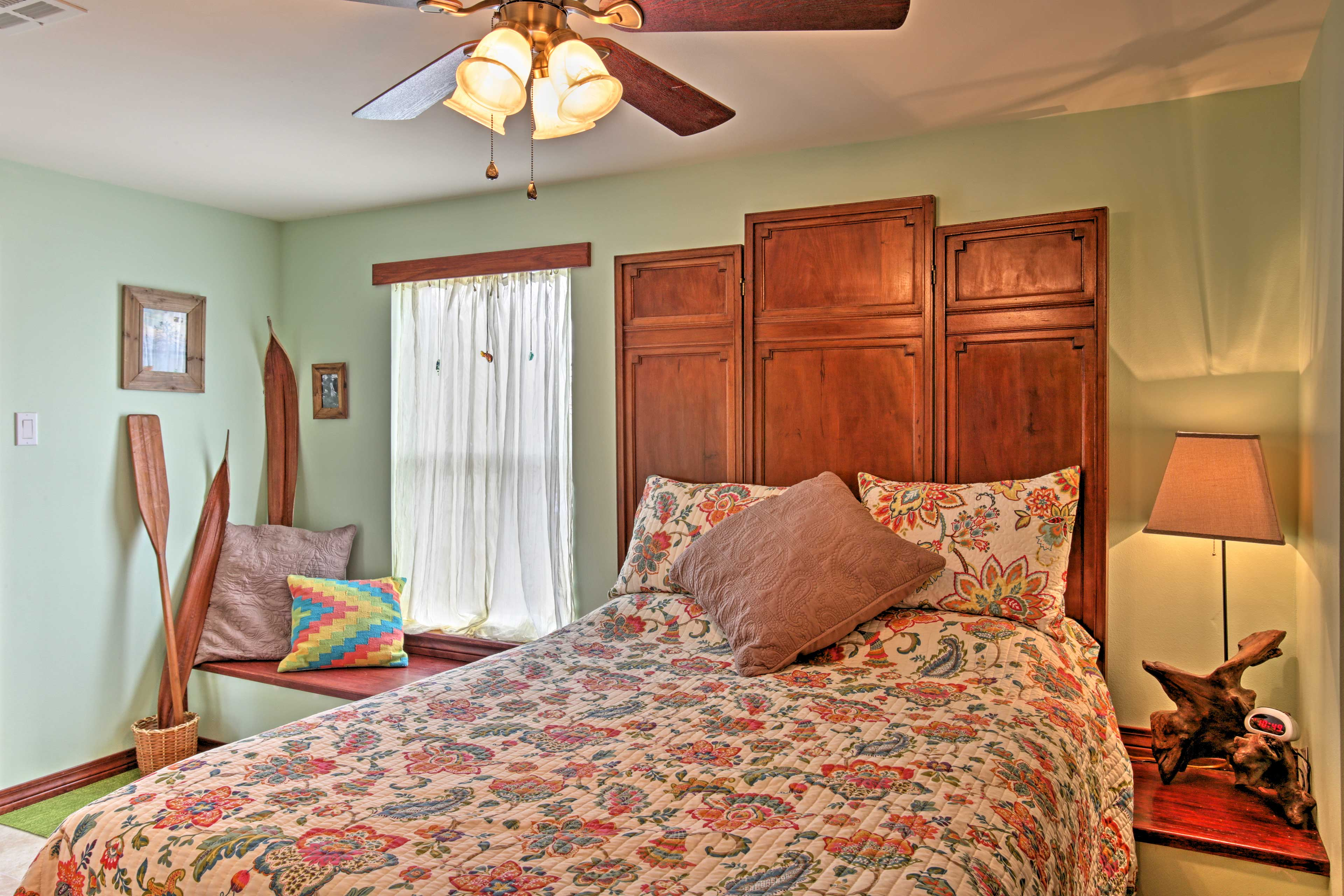 You'll drift effortlessly to sleep in the cozy queen bed.