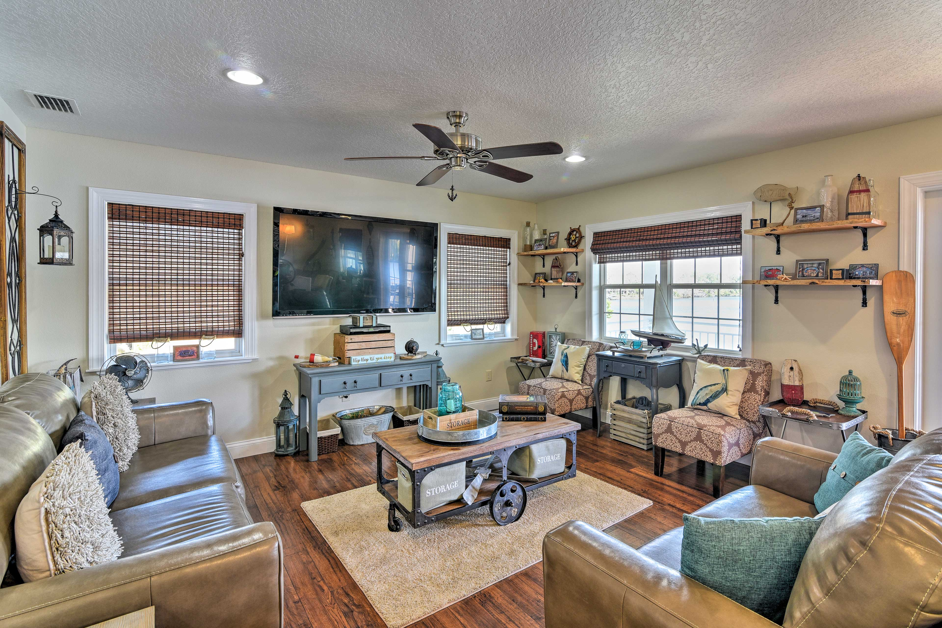 Decorated in upscale coastal decor, this home is ideal for groups of 8.