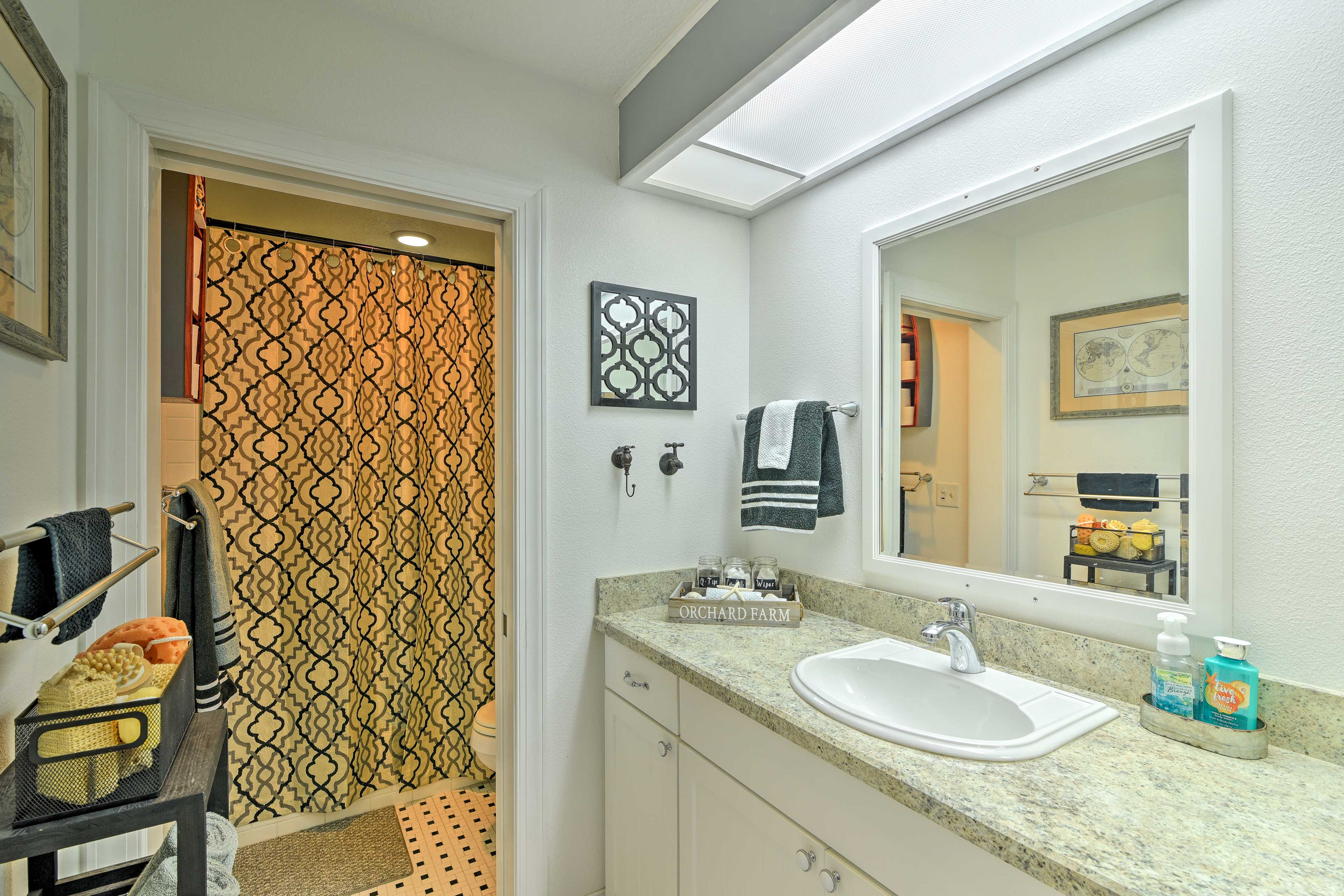 Both of the home's bathrooms feature walk-in showers.