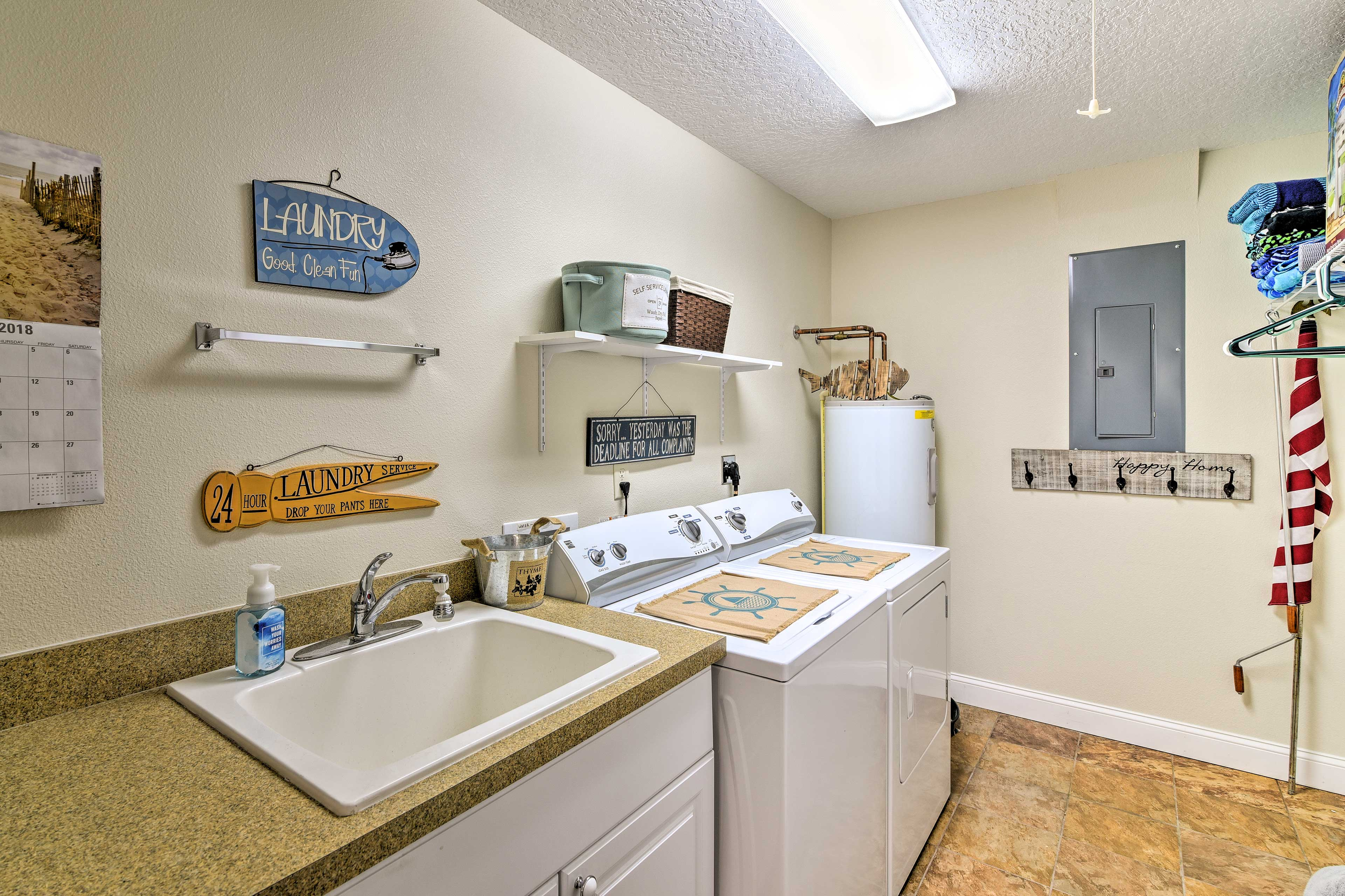 Clean your dirty duds in the large laundry room after a day of fishing!