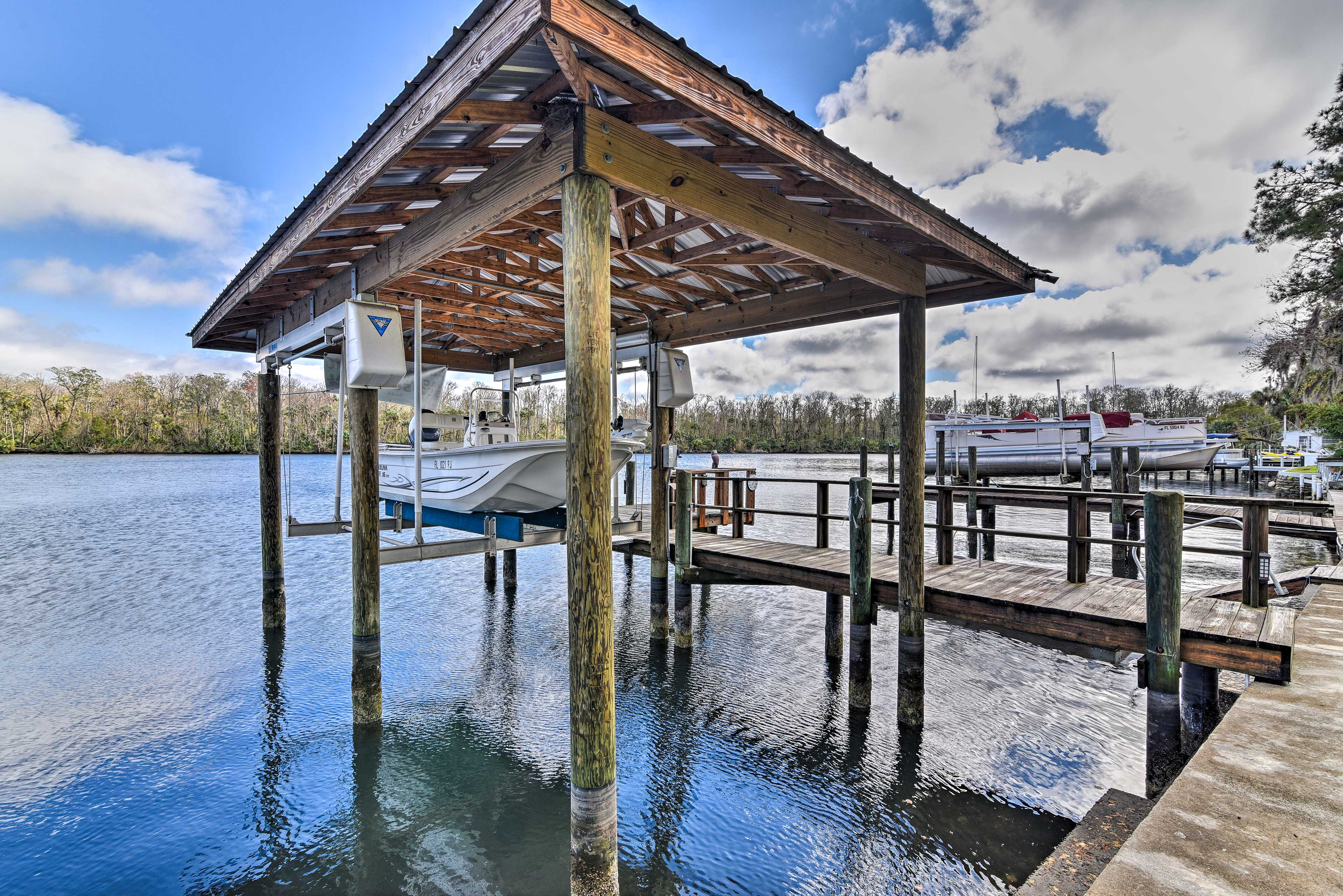 You can kayak, boat, or fish right off of the dock.