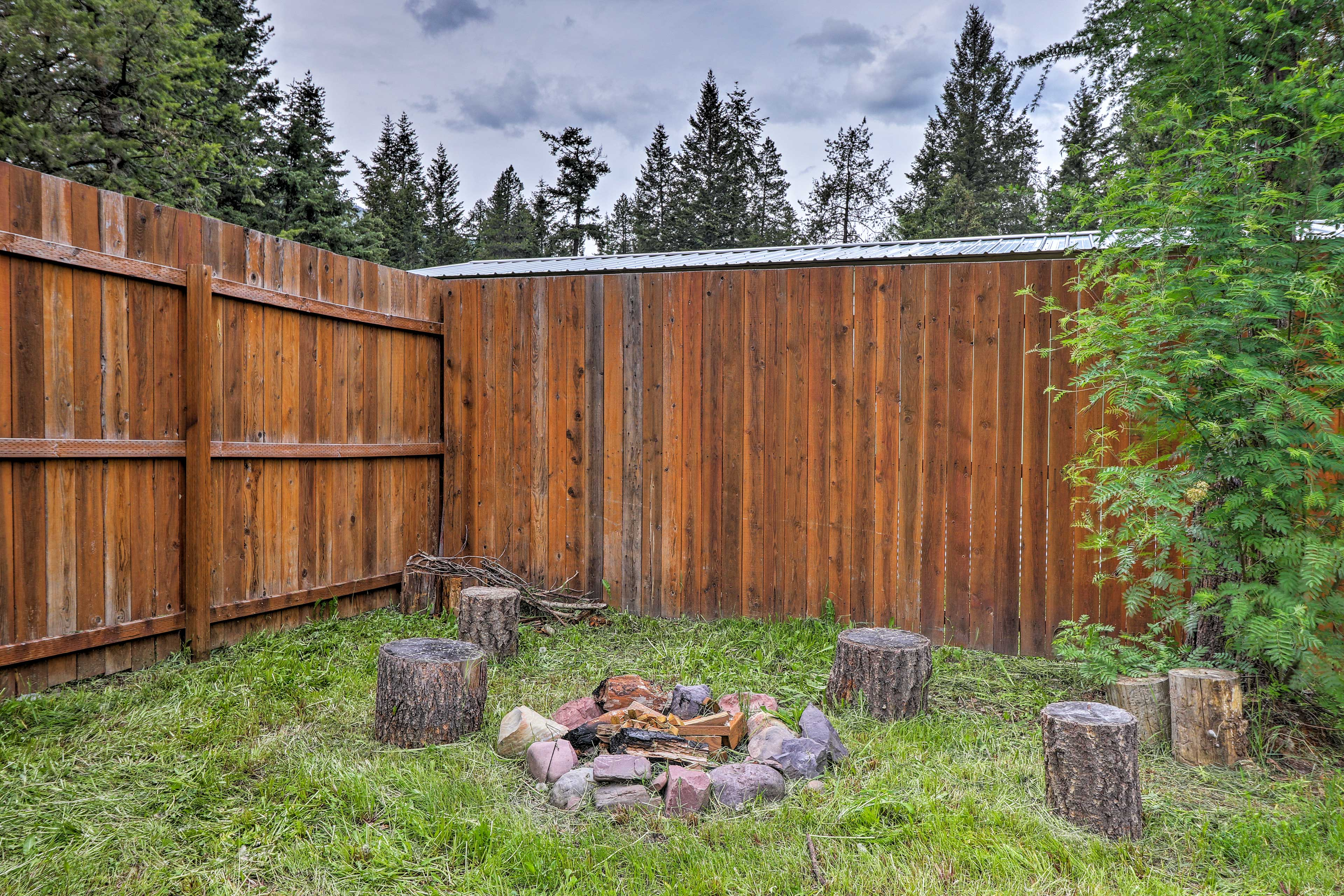 Tell stories around the fire pit under a starlit sky!