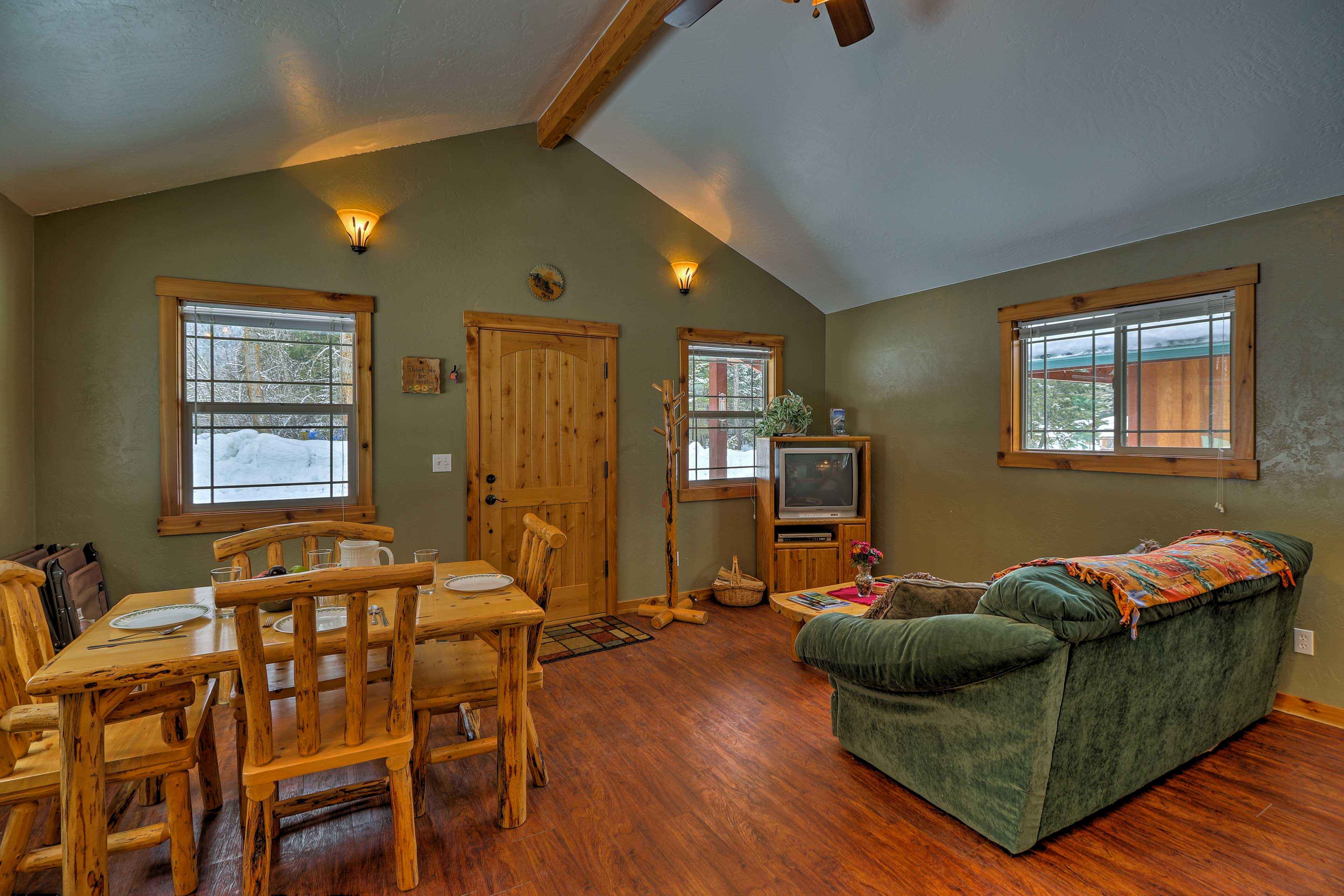 Vaulted ceilings and lots of windows add to the home's spaciousness.