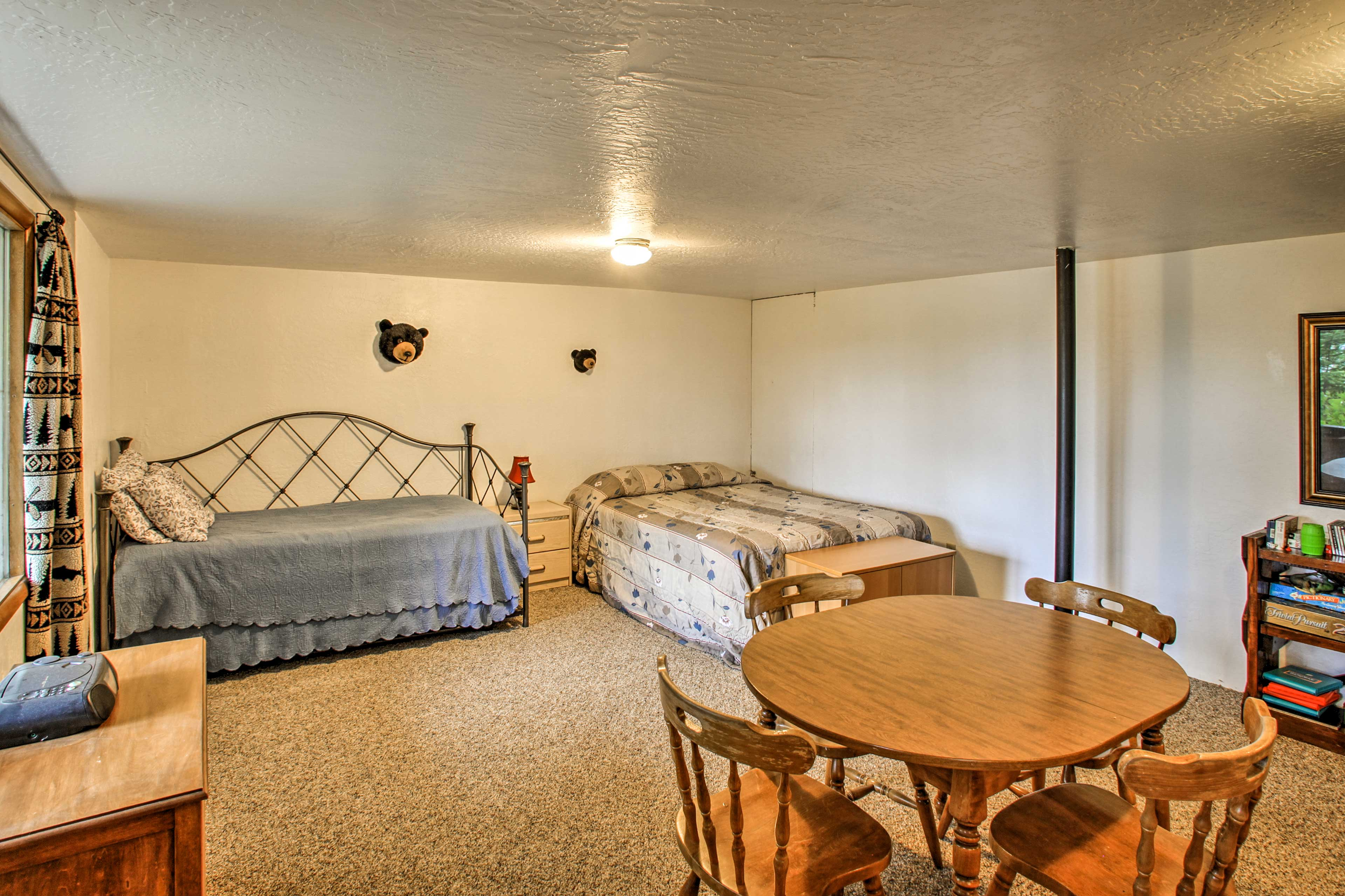 The third bedroom has a queen bed as well as a twin bed with a twin-sized bed.