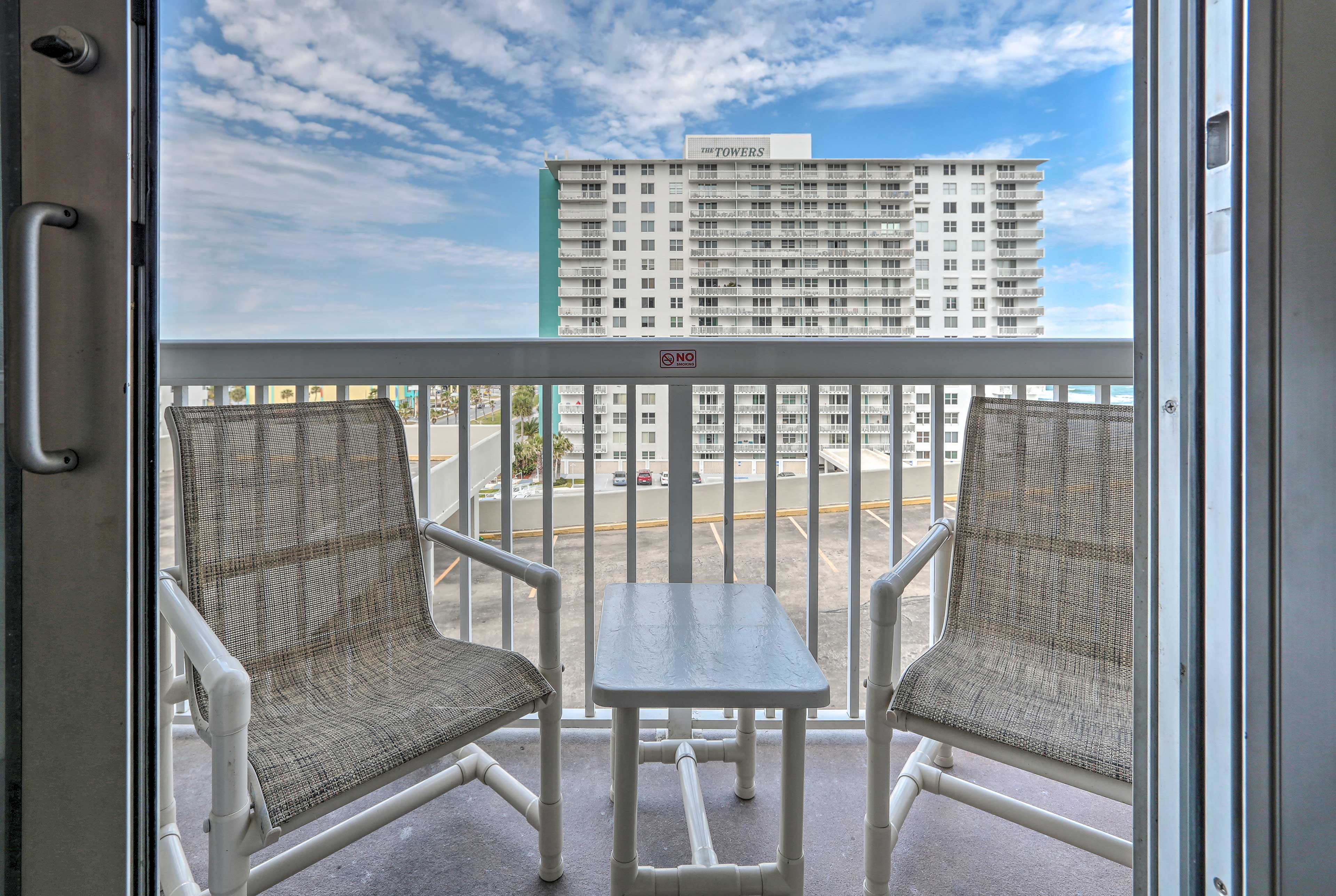 Lounge on the balcony with your favorite beverage.