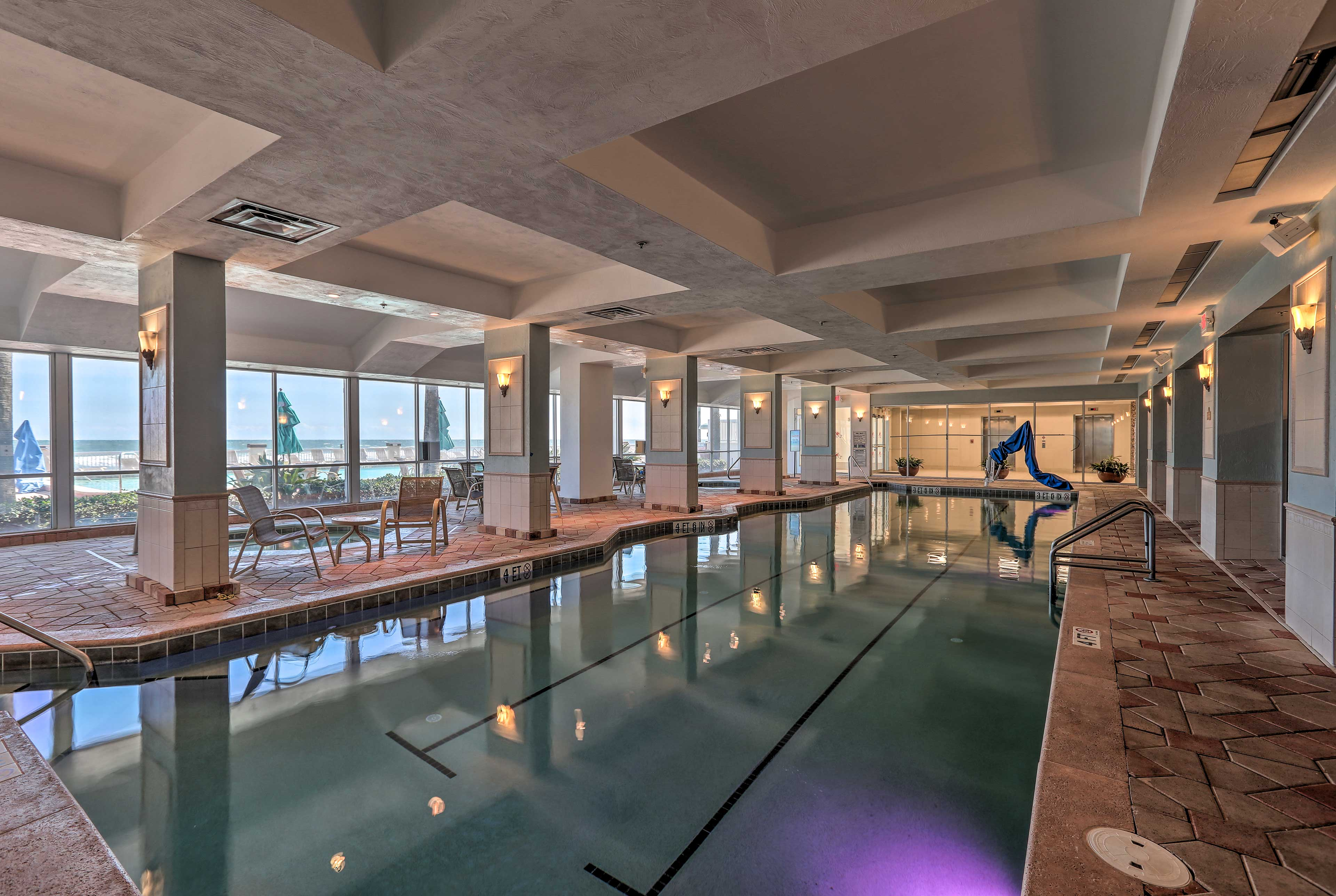 Rain or shine, you can still splash around in the indoor pool!