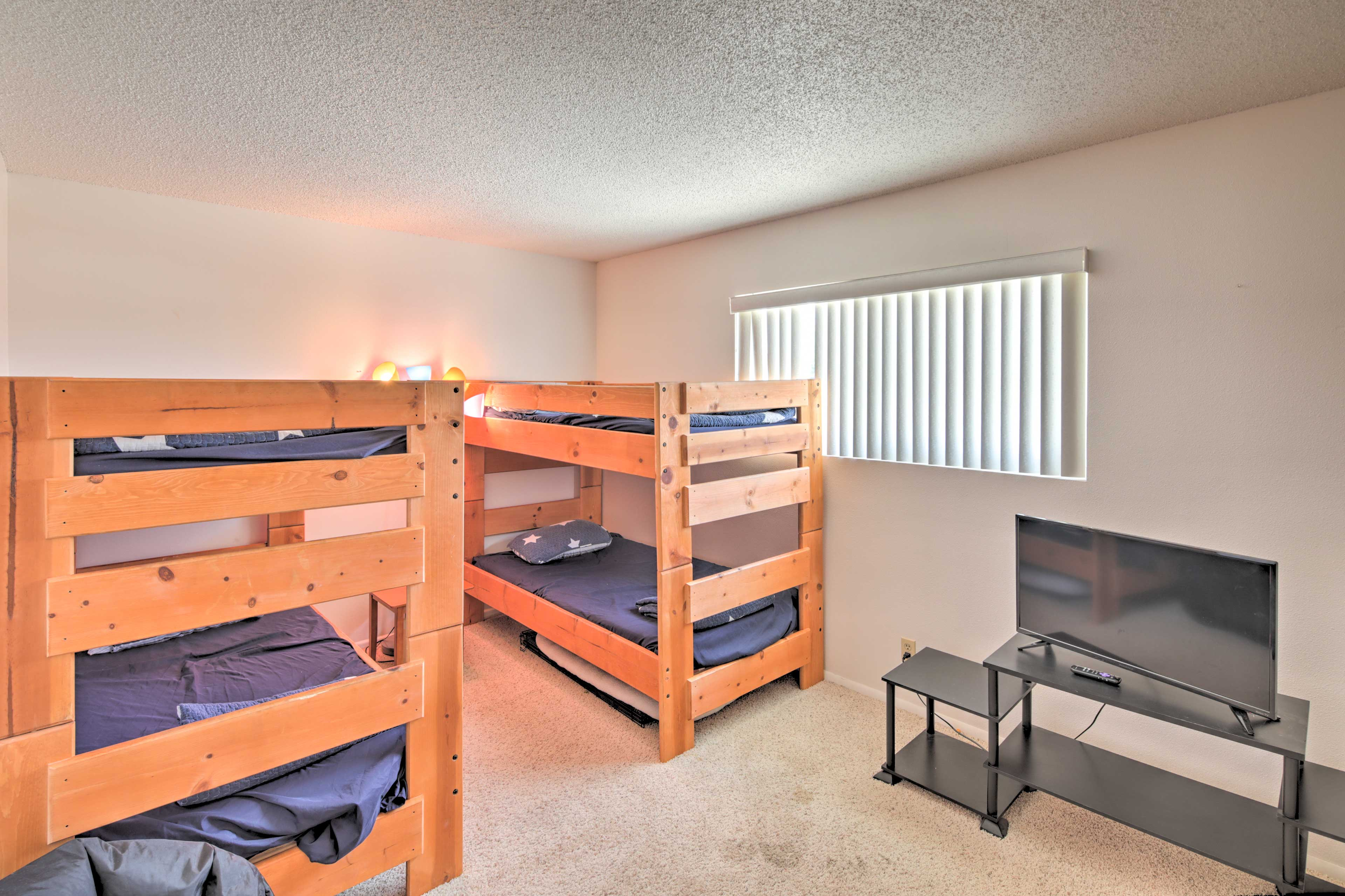 Four will sleep soundly in the twin-over-twin bunk beds.