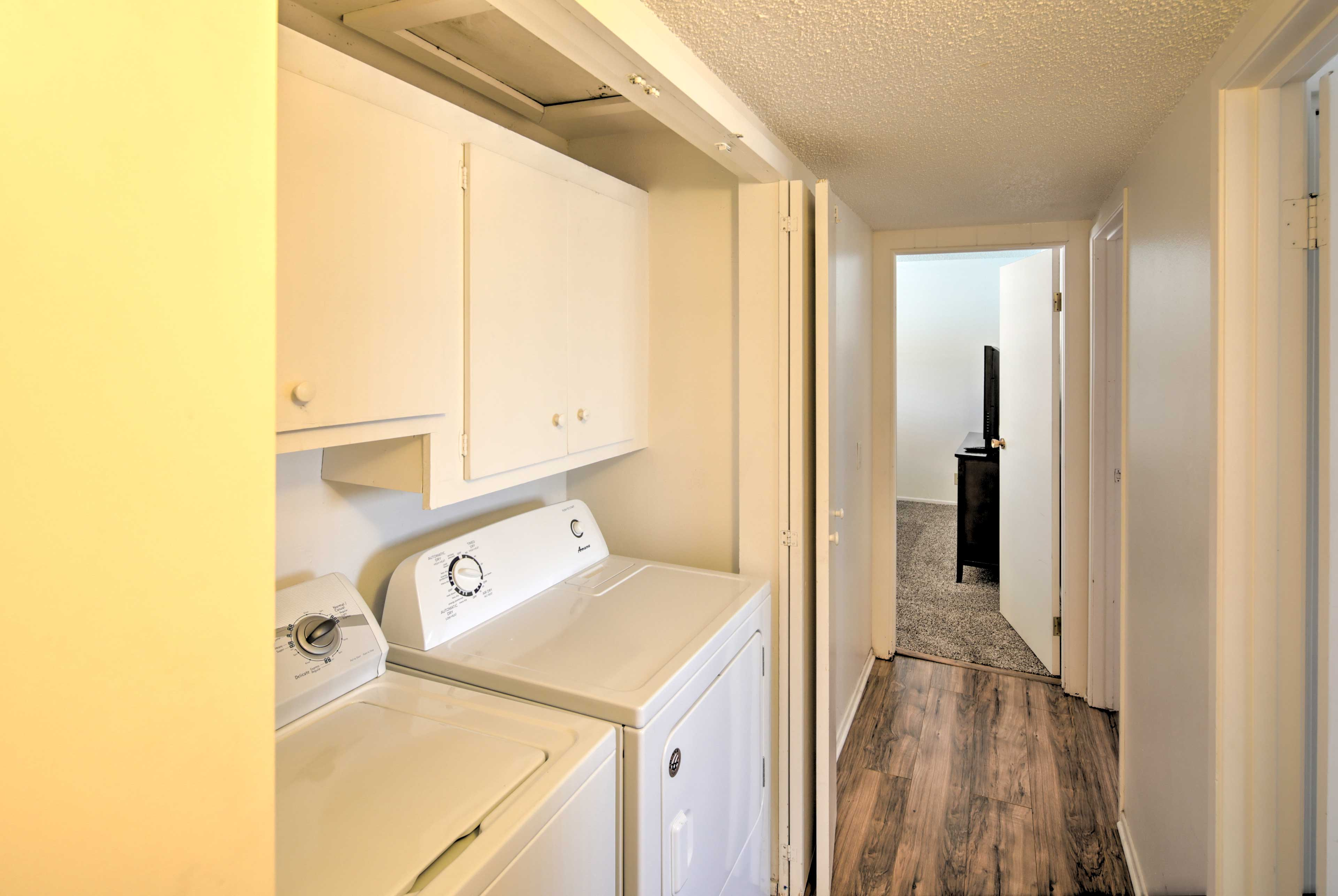 Pack light with the convenience of the in-unit washer and dryer.