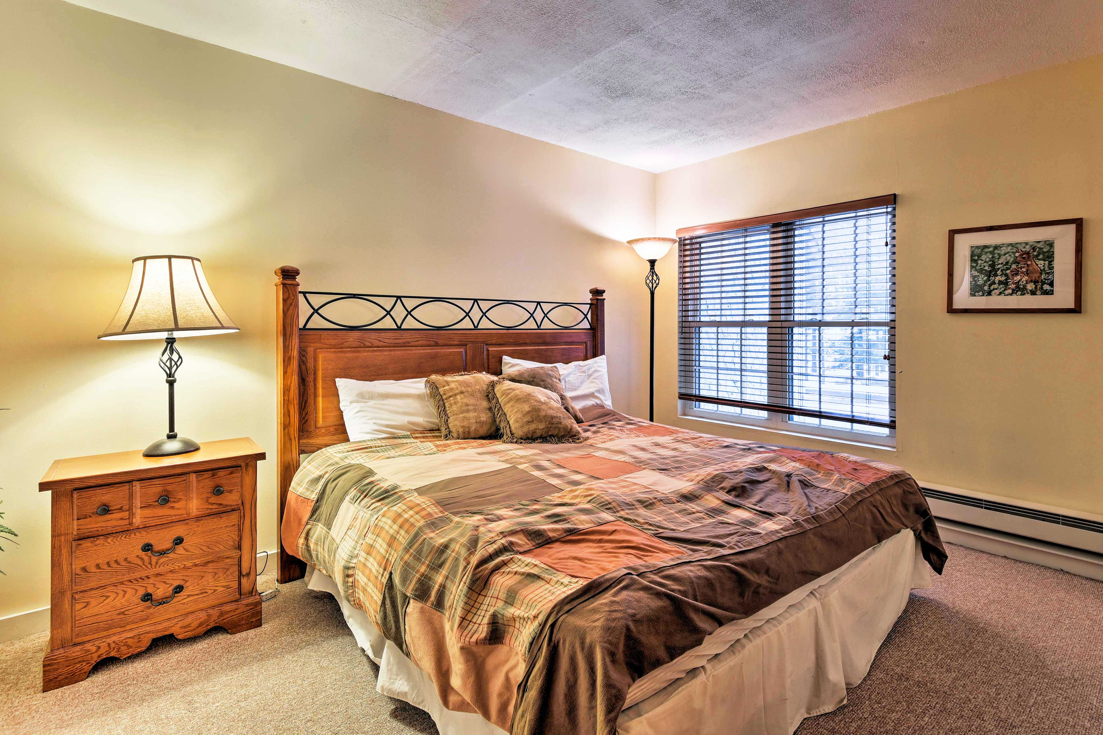 Climb under the covers of the soft king bed in the second master bedroom.