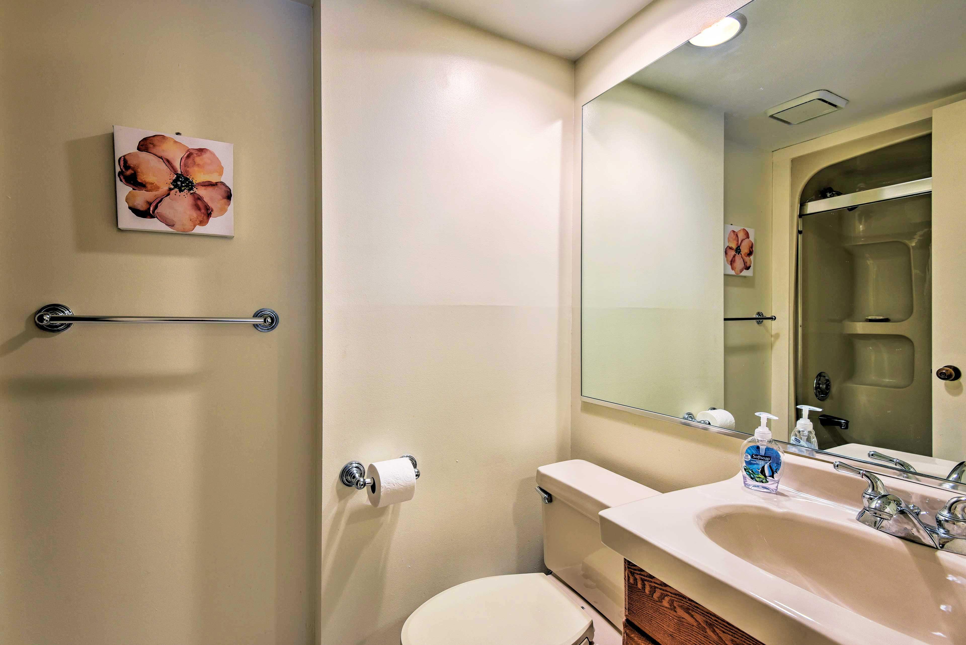 Rinse off in the walk-in shower in the second en-suite bathroom.