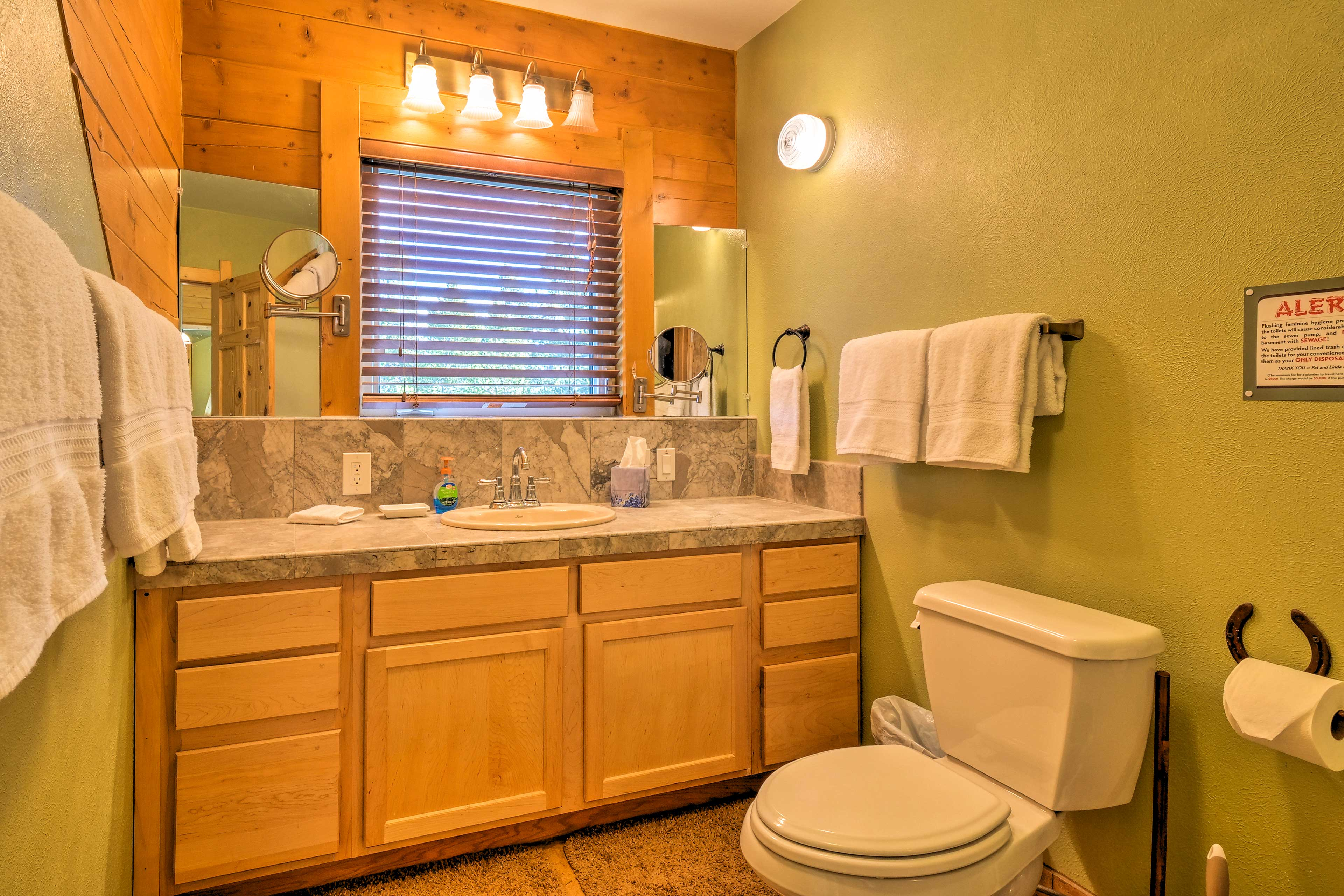 There are 3 full bathrooms located throughout the cabin.