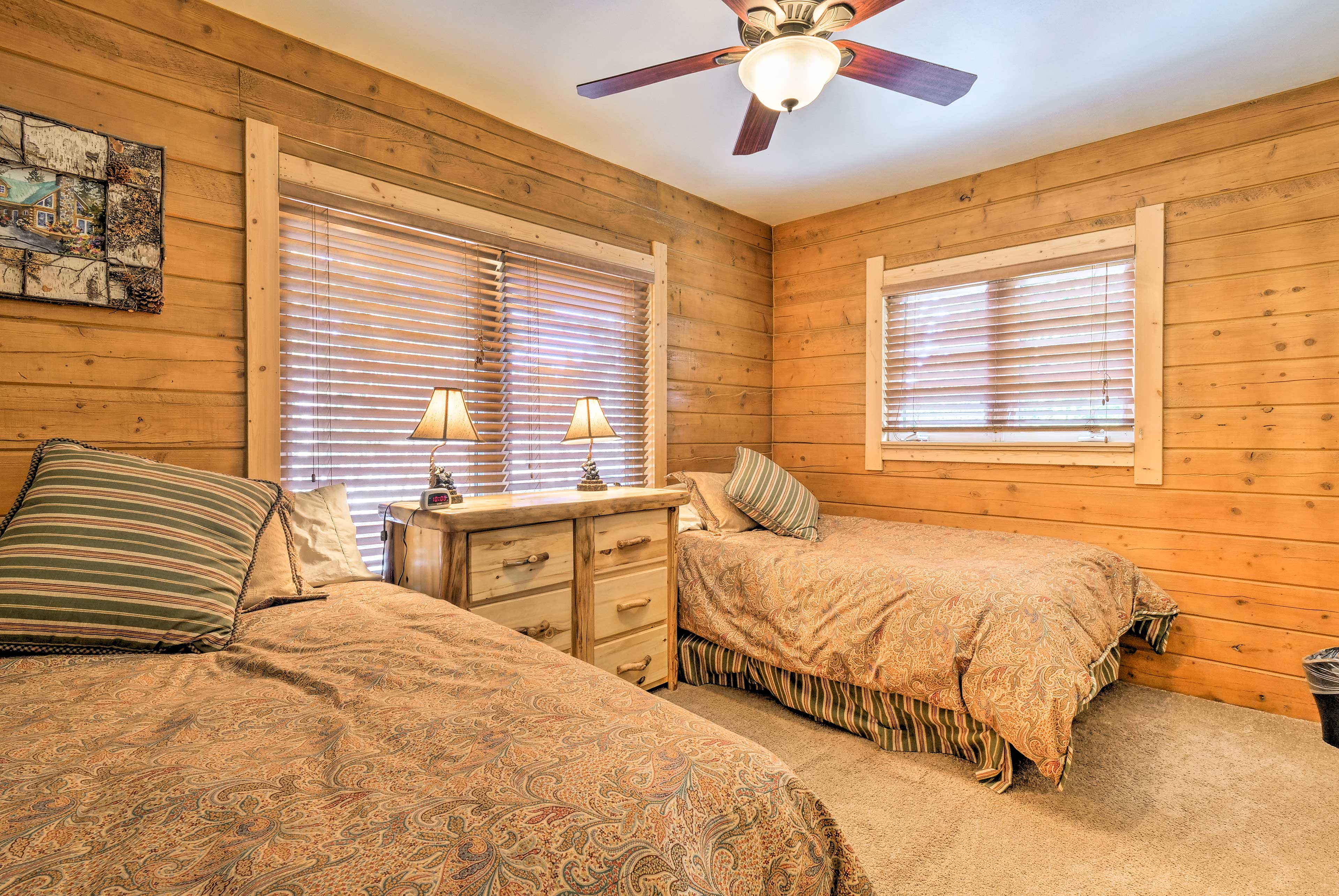 Four can share this bedroom, complete with 2 full-sized beds.