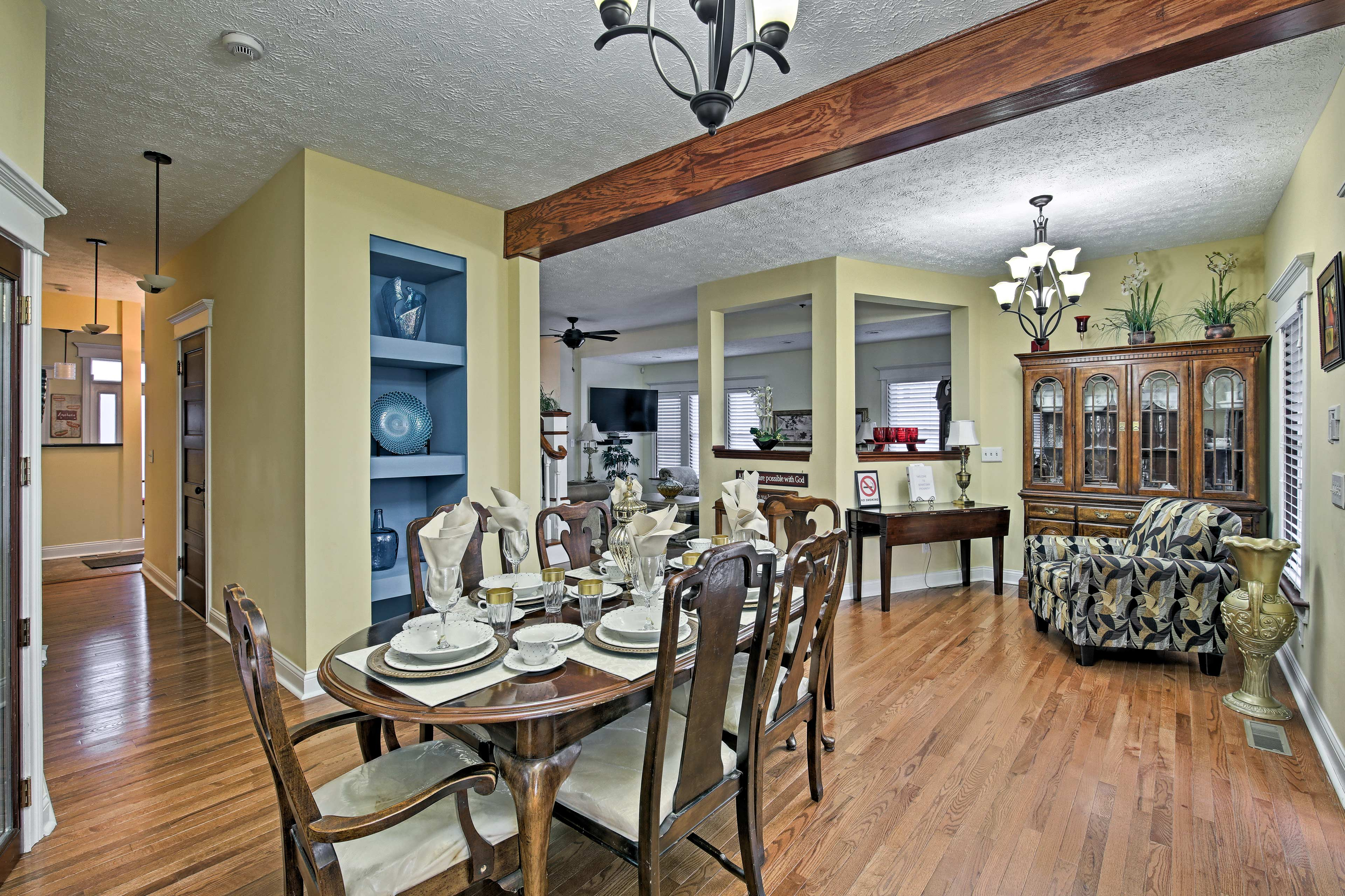 Enjoy a home-cooked meal at the dining table.