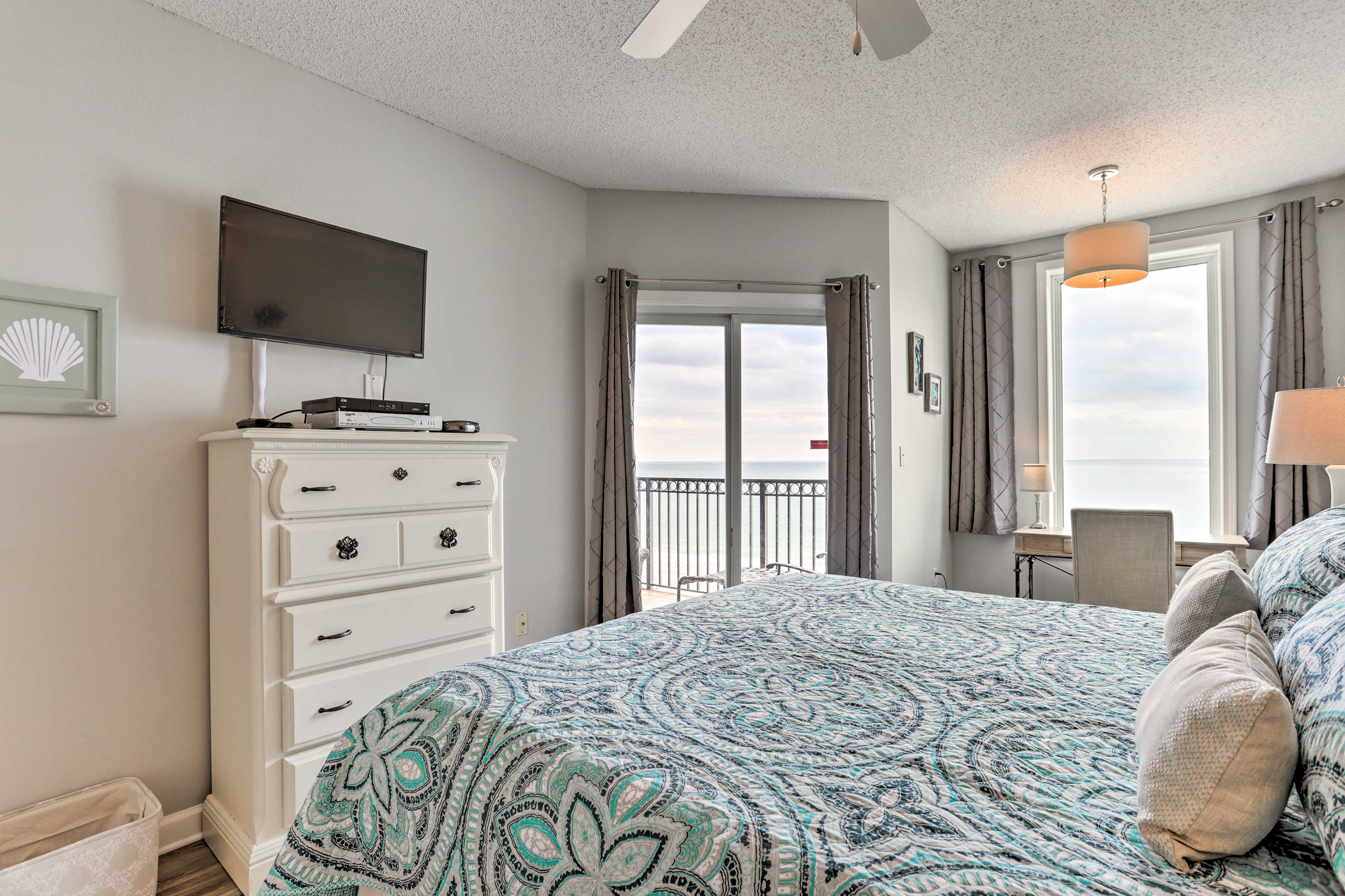 Lie back and enjoy a show on the flat-screen cable TV in the master bedroom.