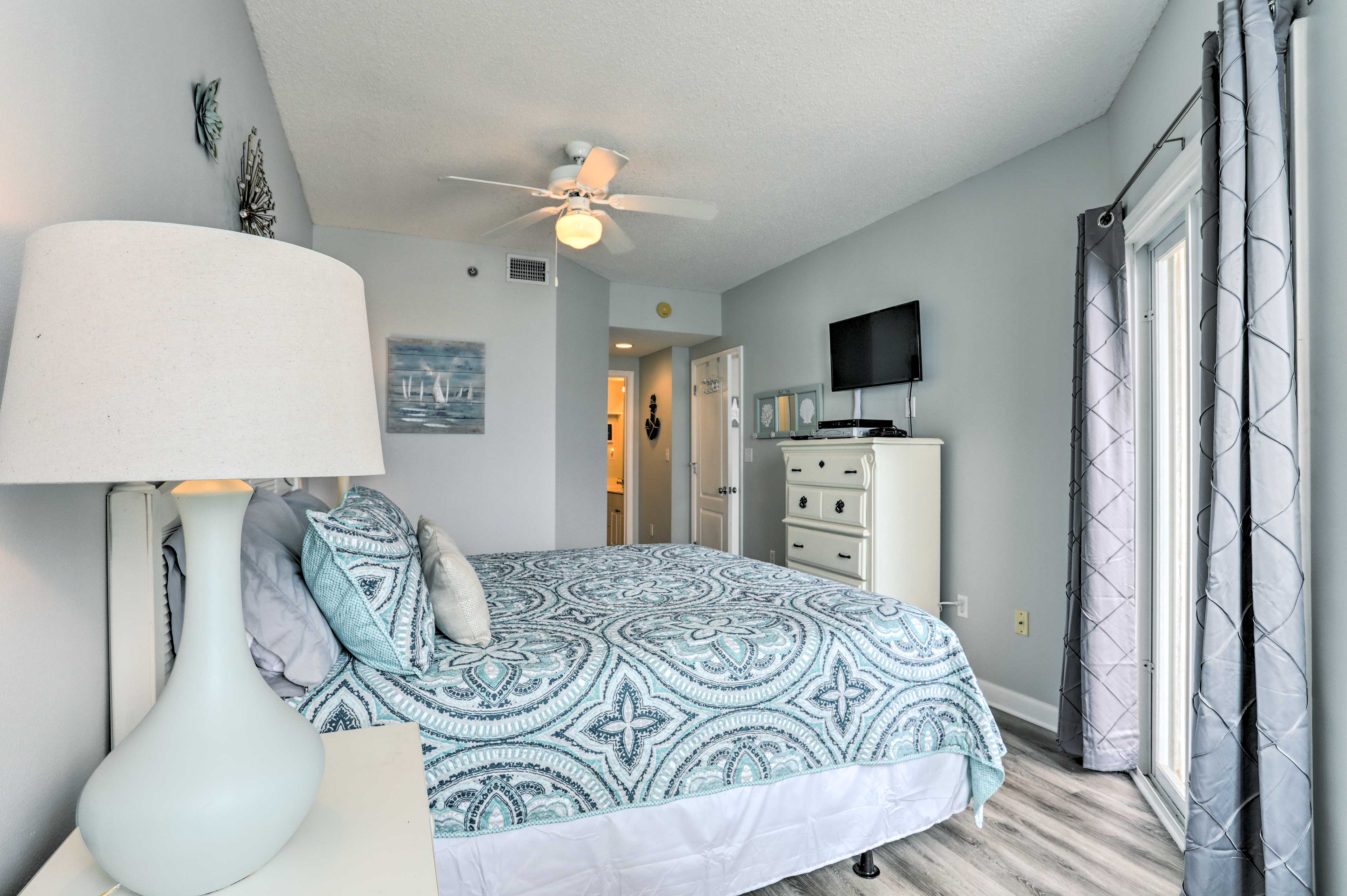 You're ensured a peaceful night in the master bedroom on a plush king bed.