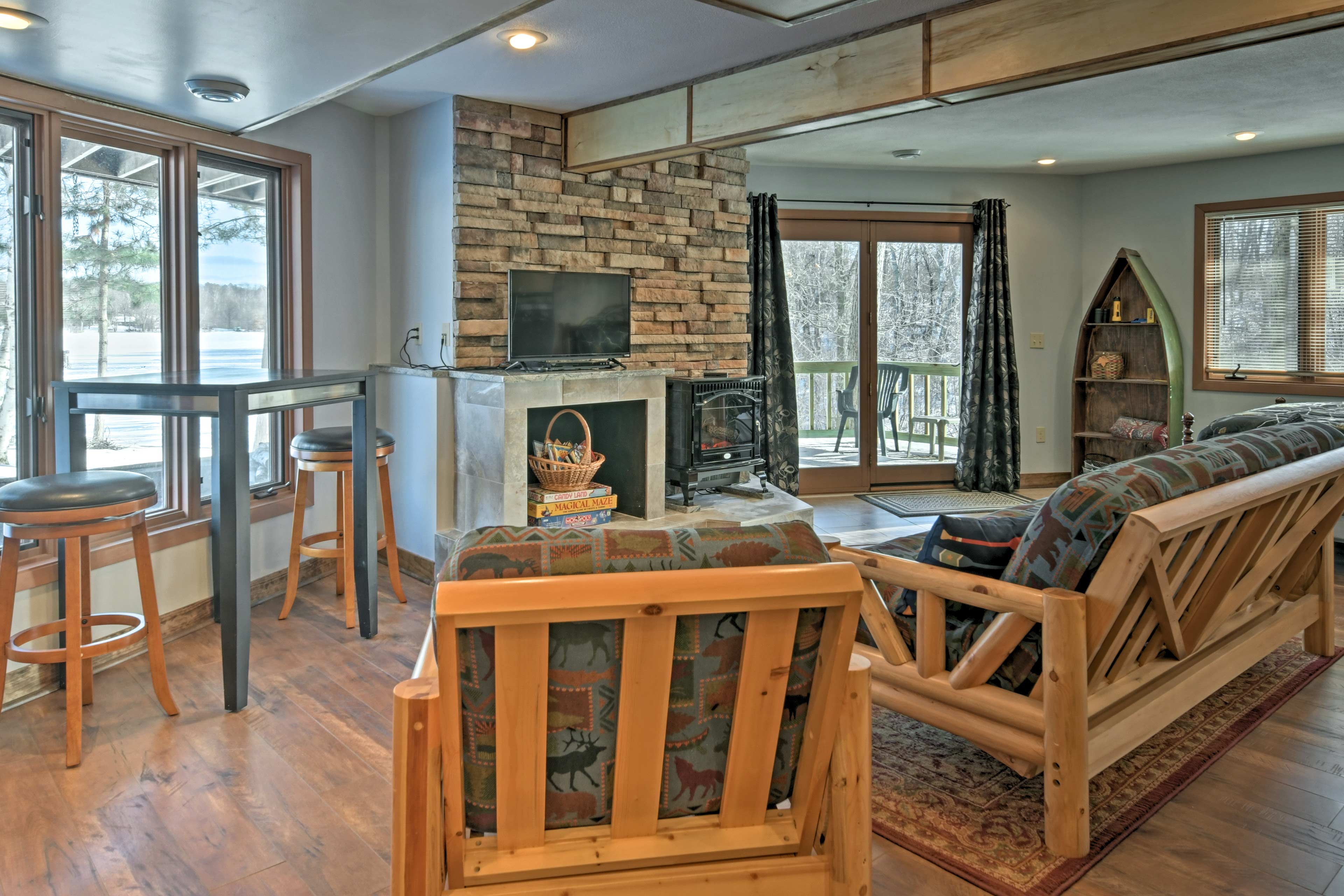 Unwind in front of the fire and enjoy family game night.