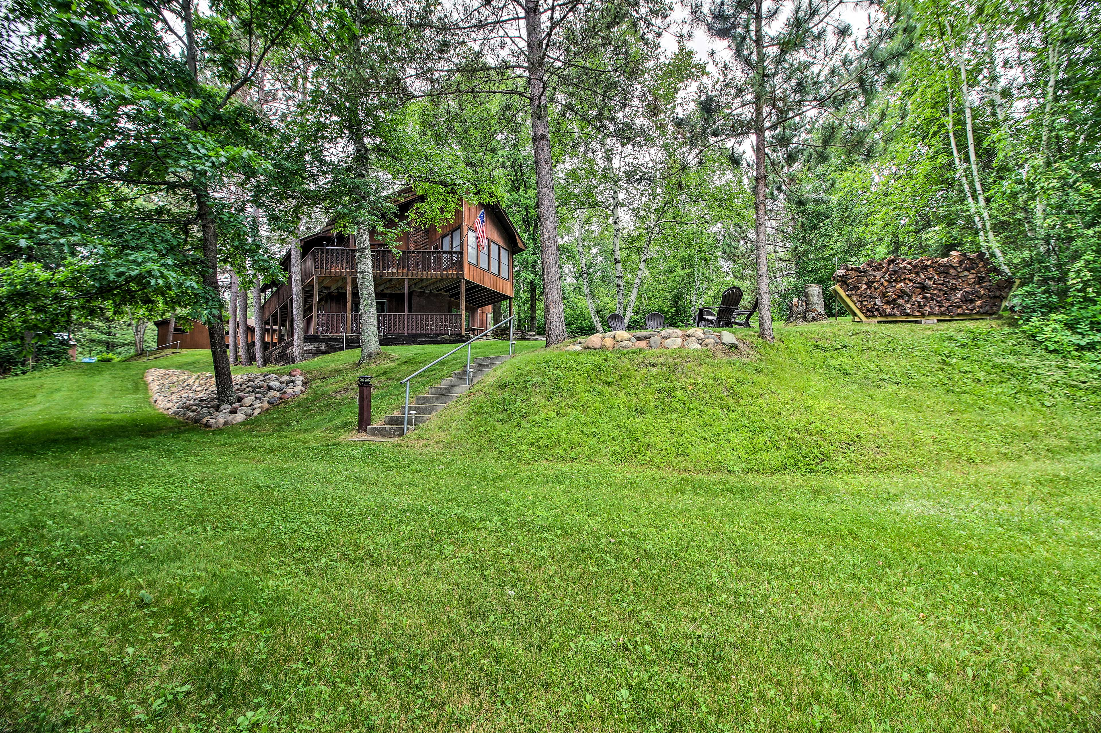 The backyard offers enough space for a wide variety of activities.