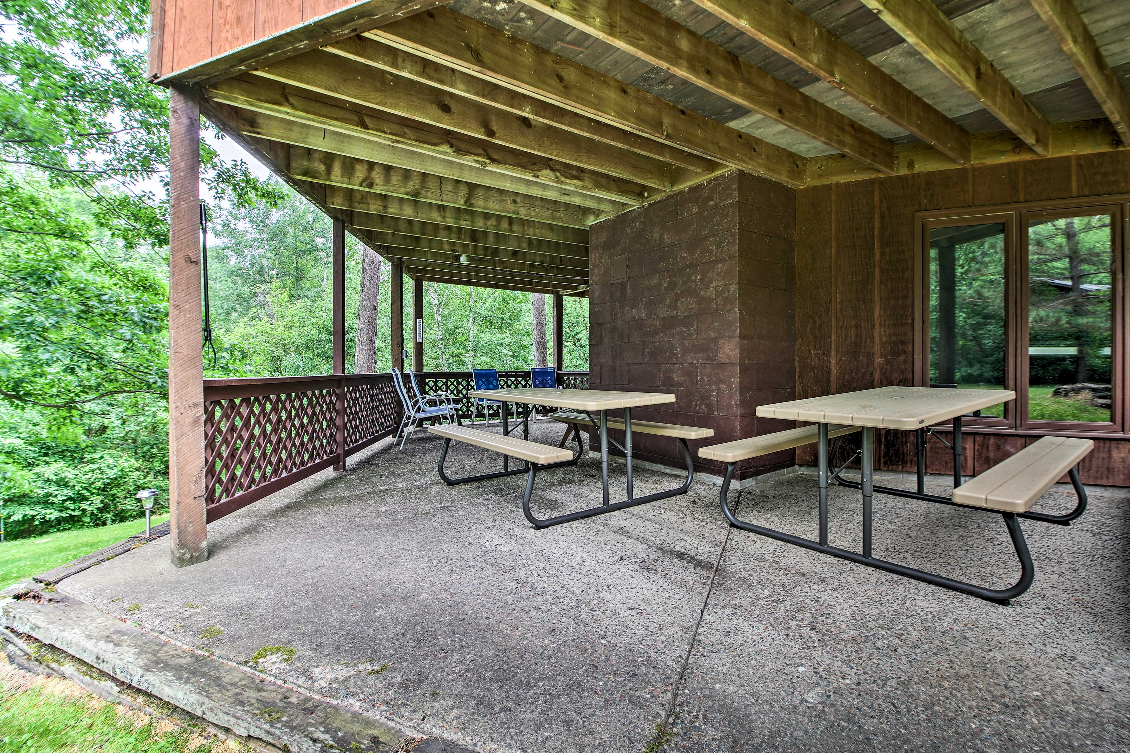 Another patio can be found under the deck.