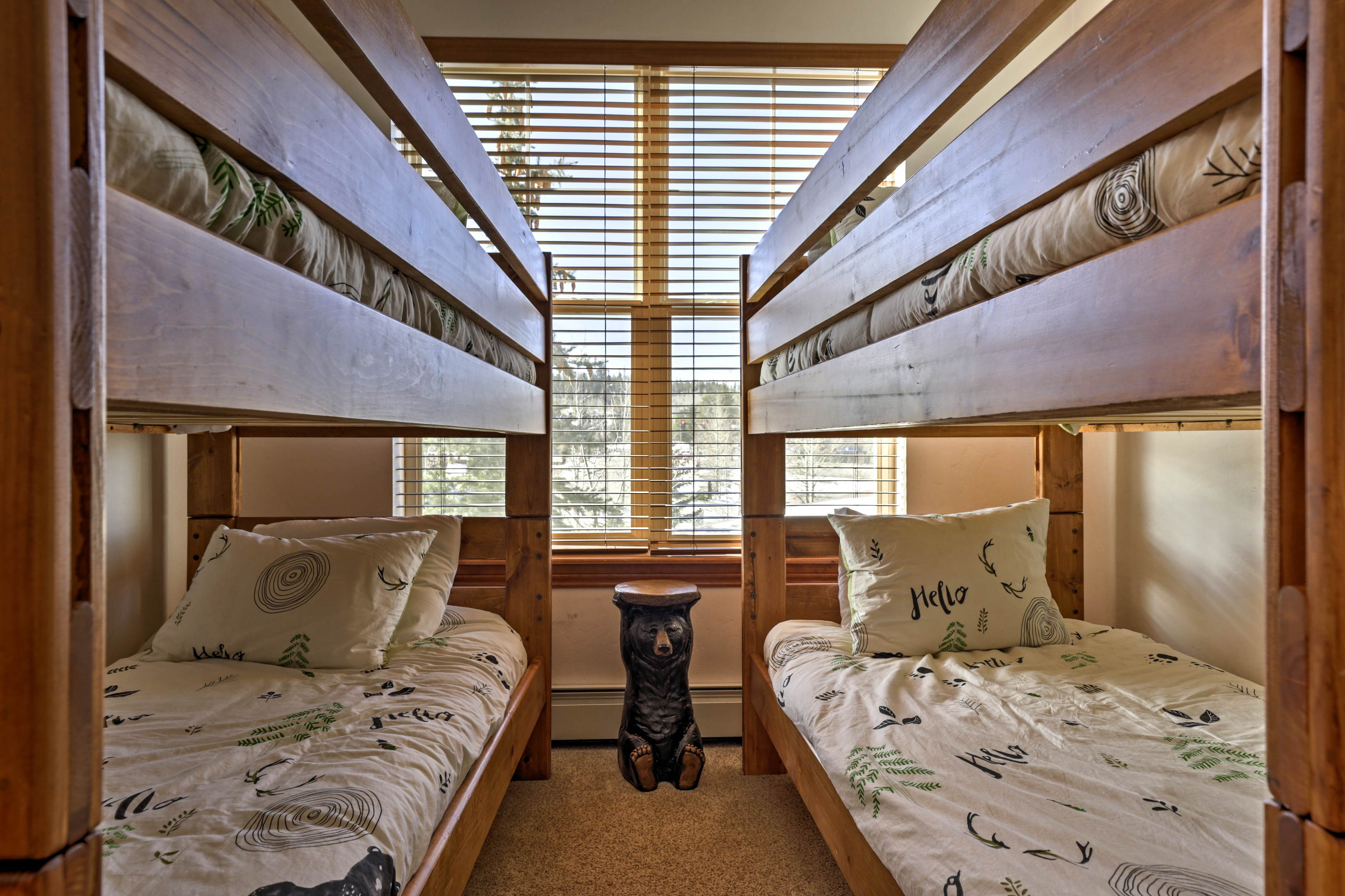 Up to 4 can sleep in this bedroom.