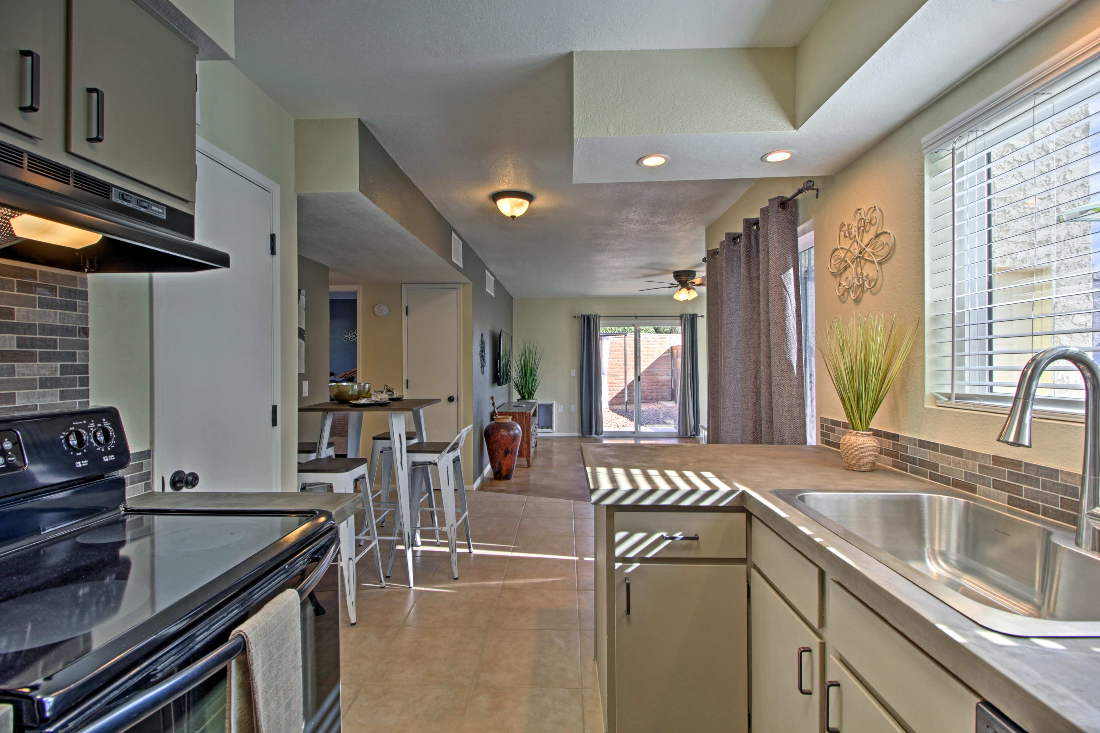 The kitchen is fully equipped to ensure evening meals can be done with ease.