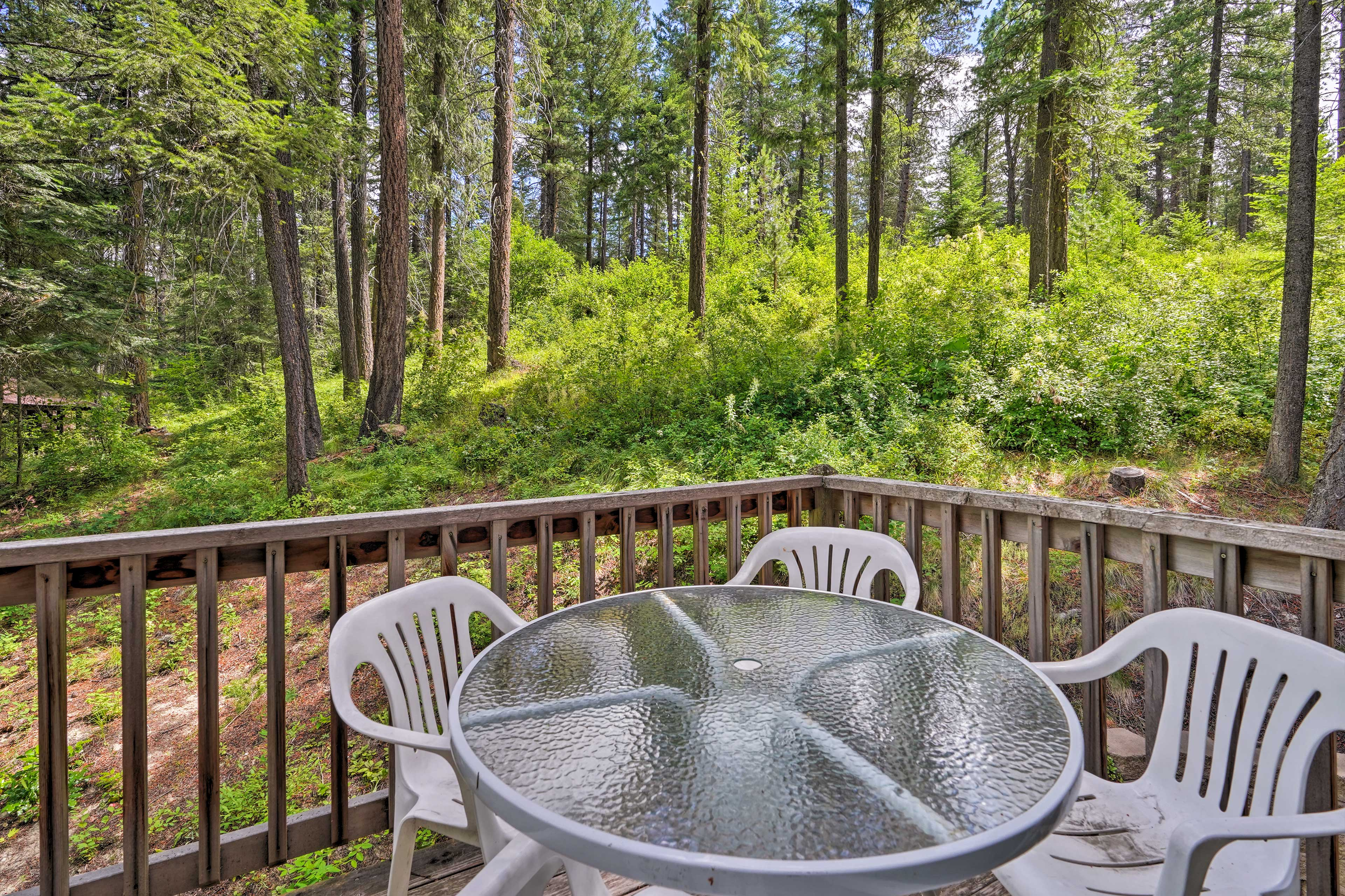Enjoy time outdoors on the private deck.