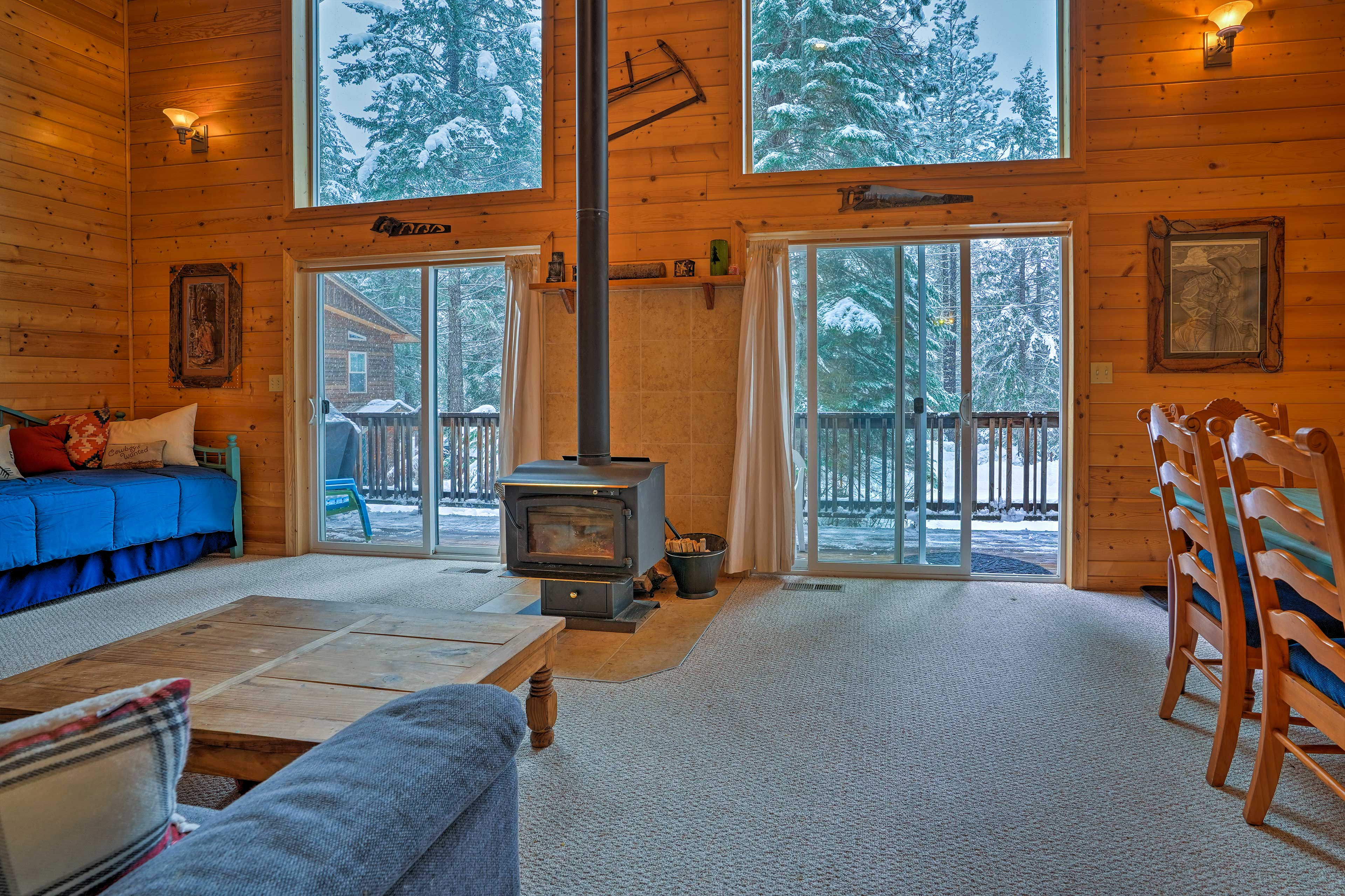 Throw some logs on the wood-burning stove!
