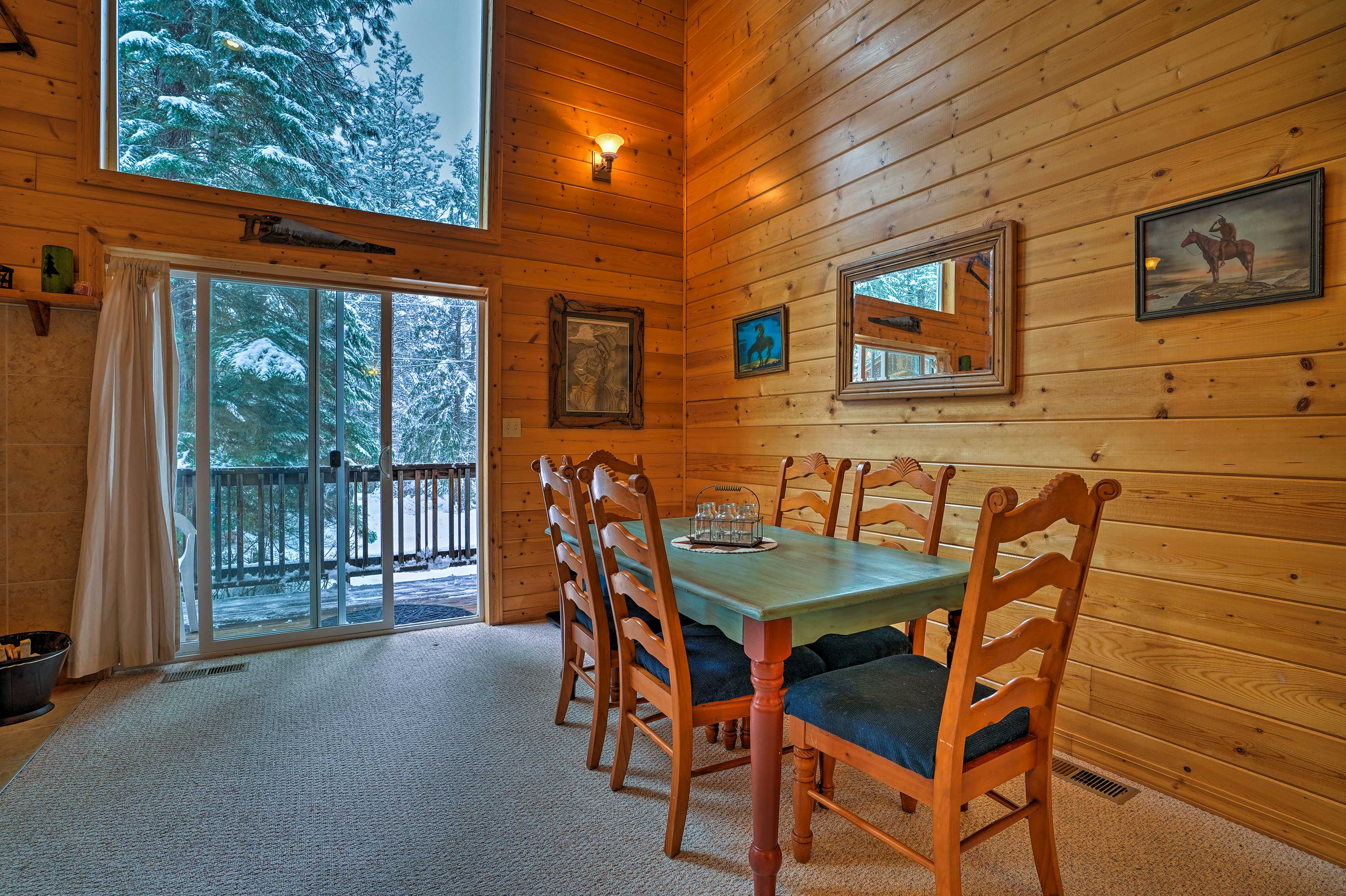 Enjoy home-cooked meals around the rustic dining room table with seating for 6.