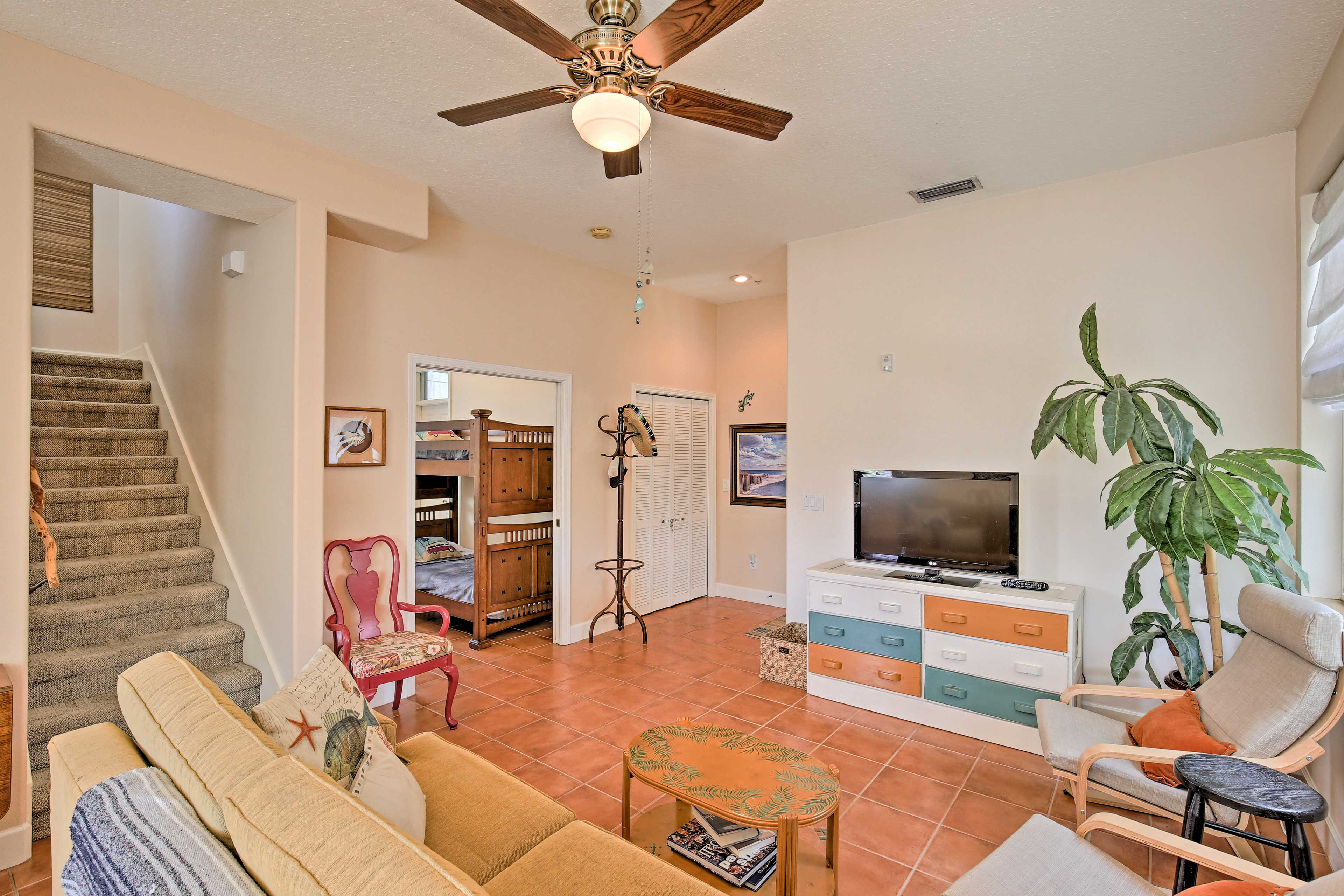 Find refuge from the sun in the cozy living area.