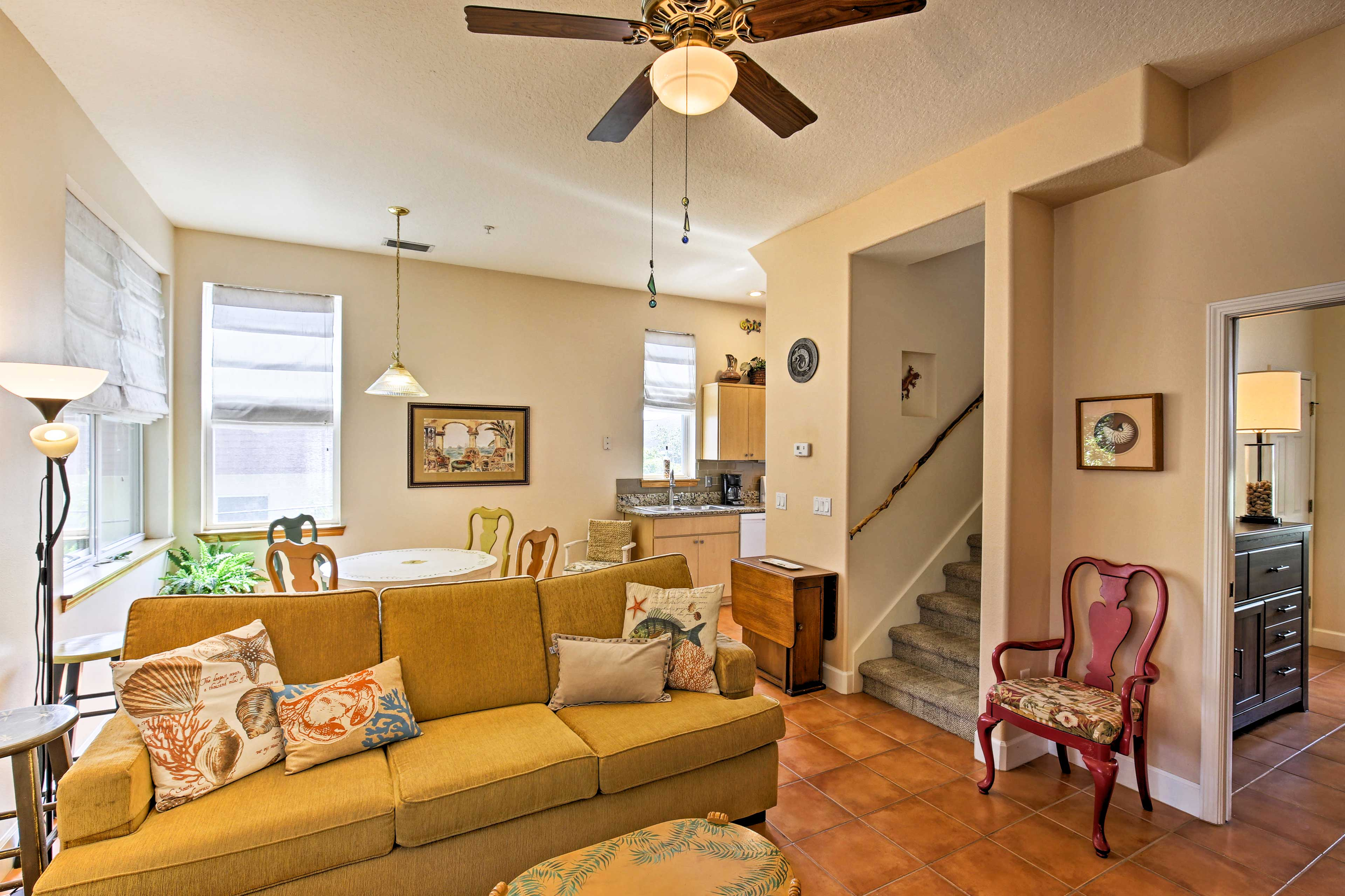 The open floor plan gives the condo an inviting ambiance.